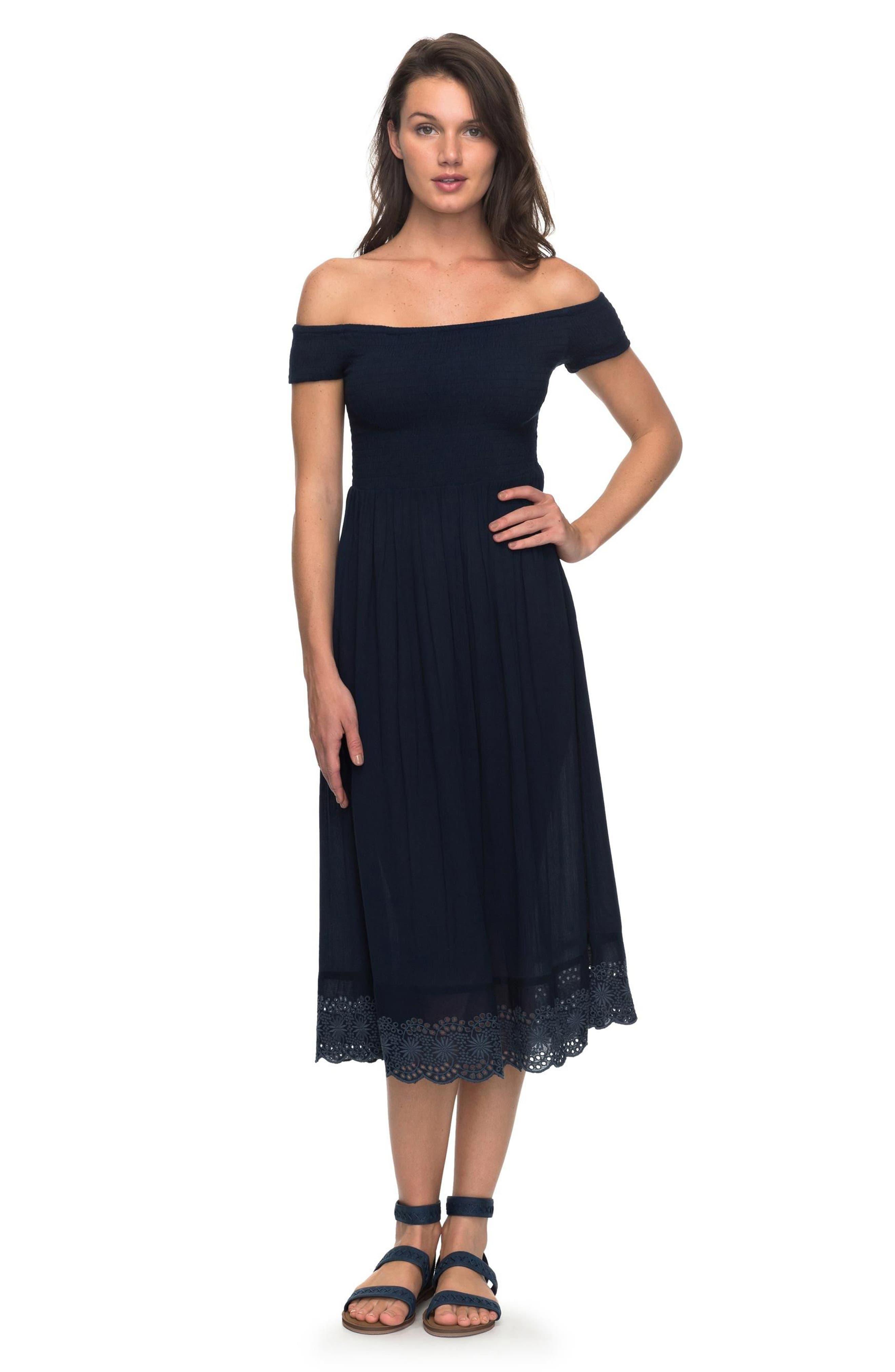 Pretty Lovers Off the Shoulder Midi Dress,                             Alternate thumbnail 8, color,