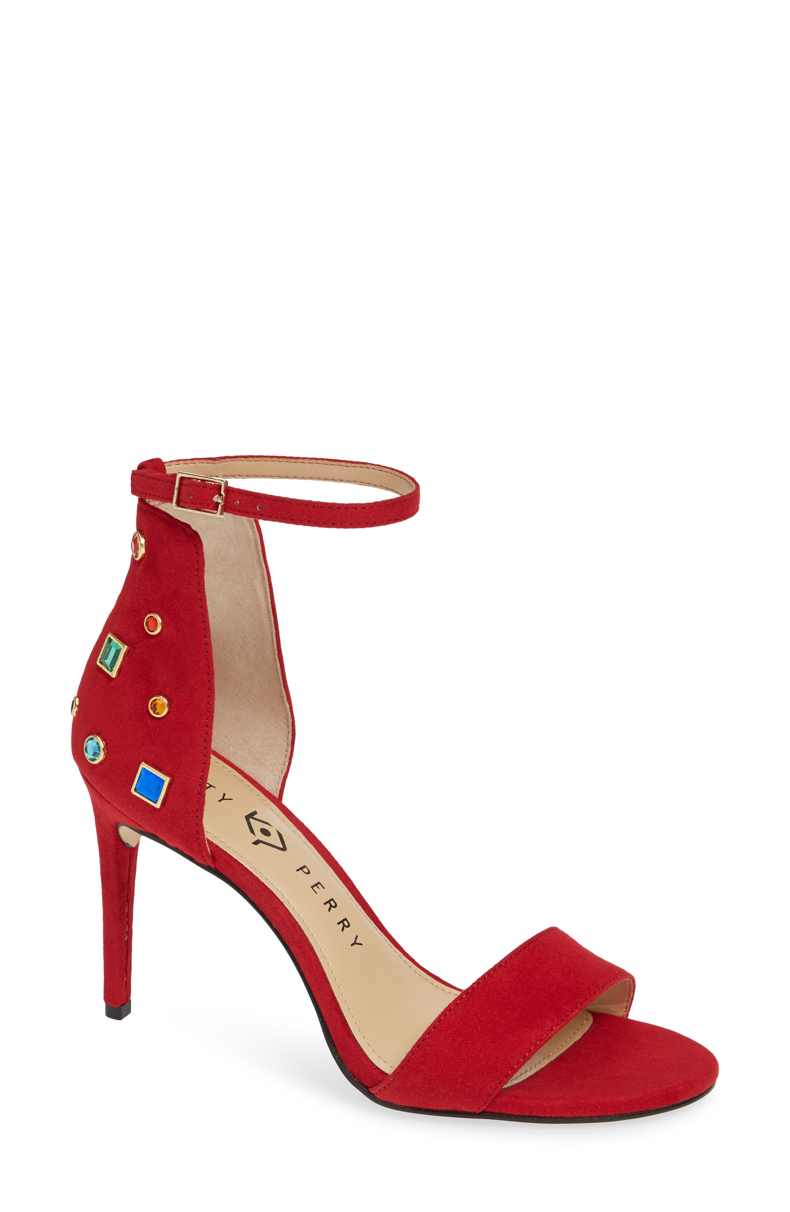 Jewel Ankle Strap Sandal in Red