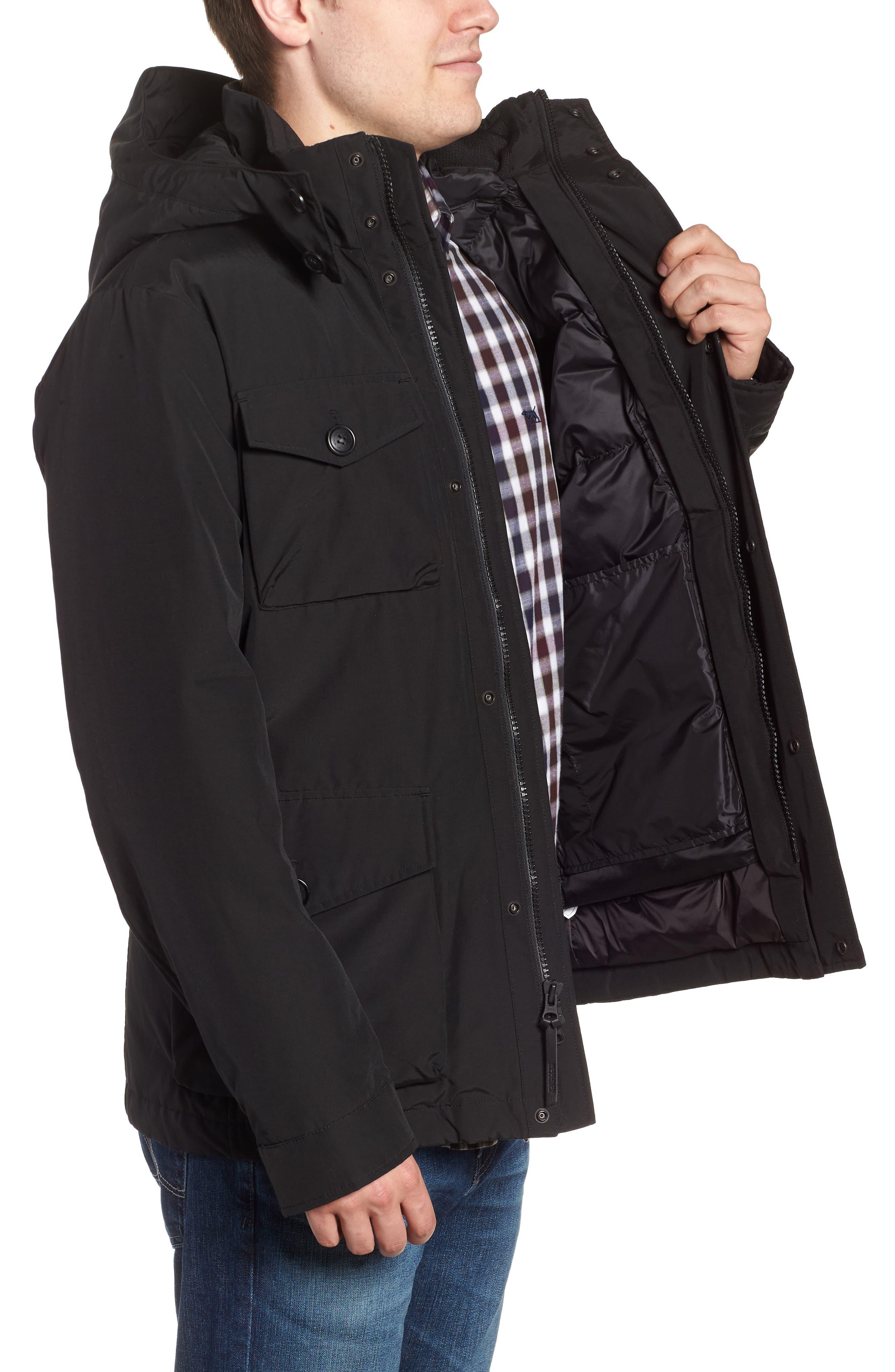 Camou Field Jacket,                             Alternate thumbnail 3, color,                             BLACK