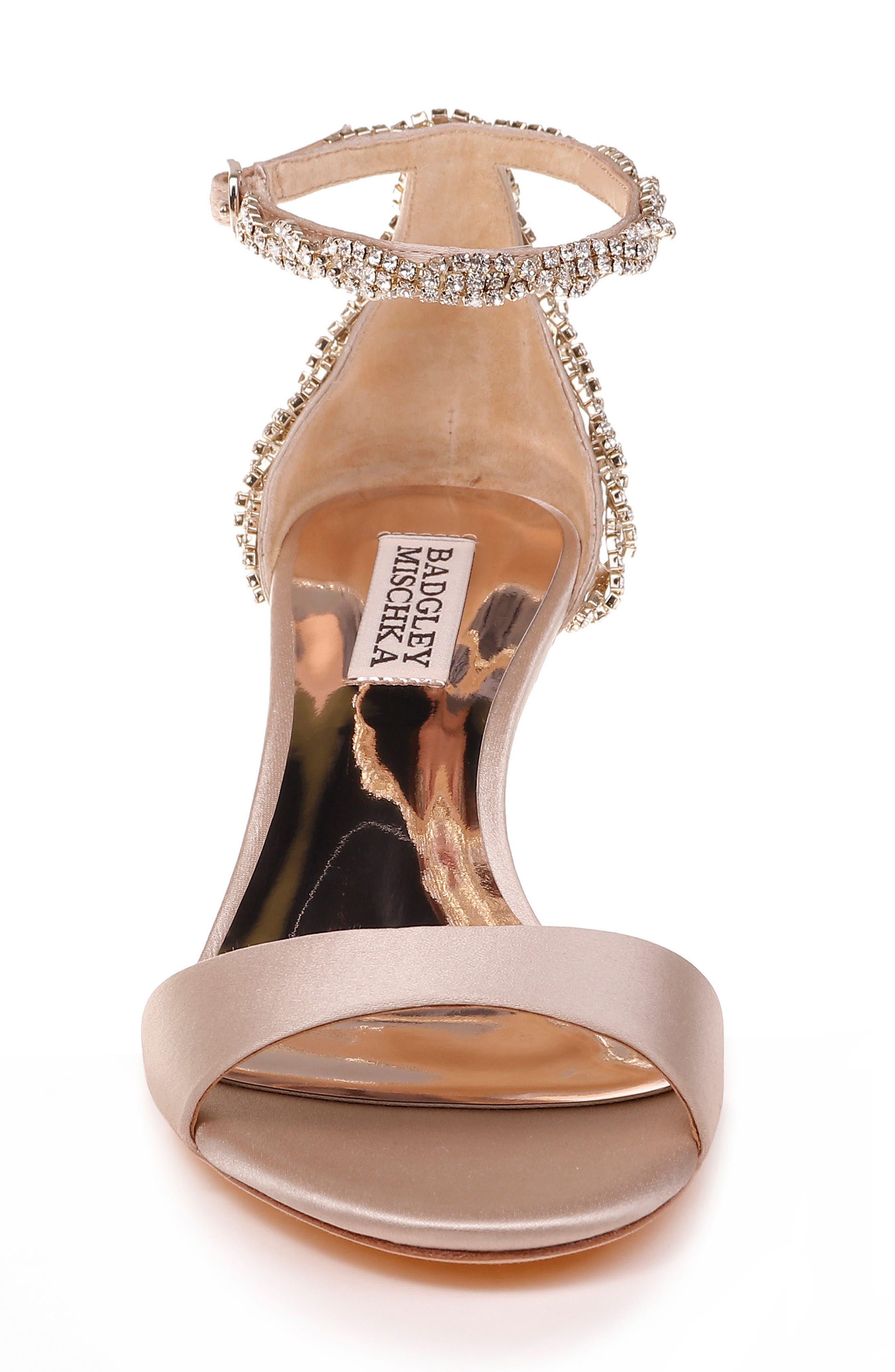 Yareli Crystal Embellished Sandal,                             Alternate thumbnail 4, color,                             NUDE SATIN