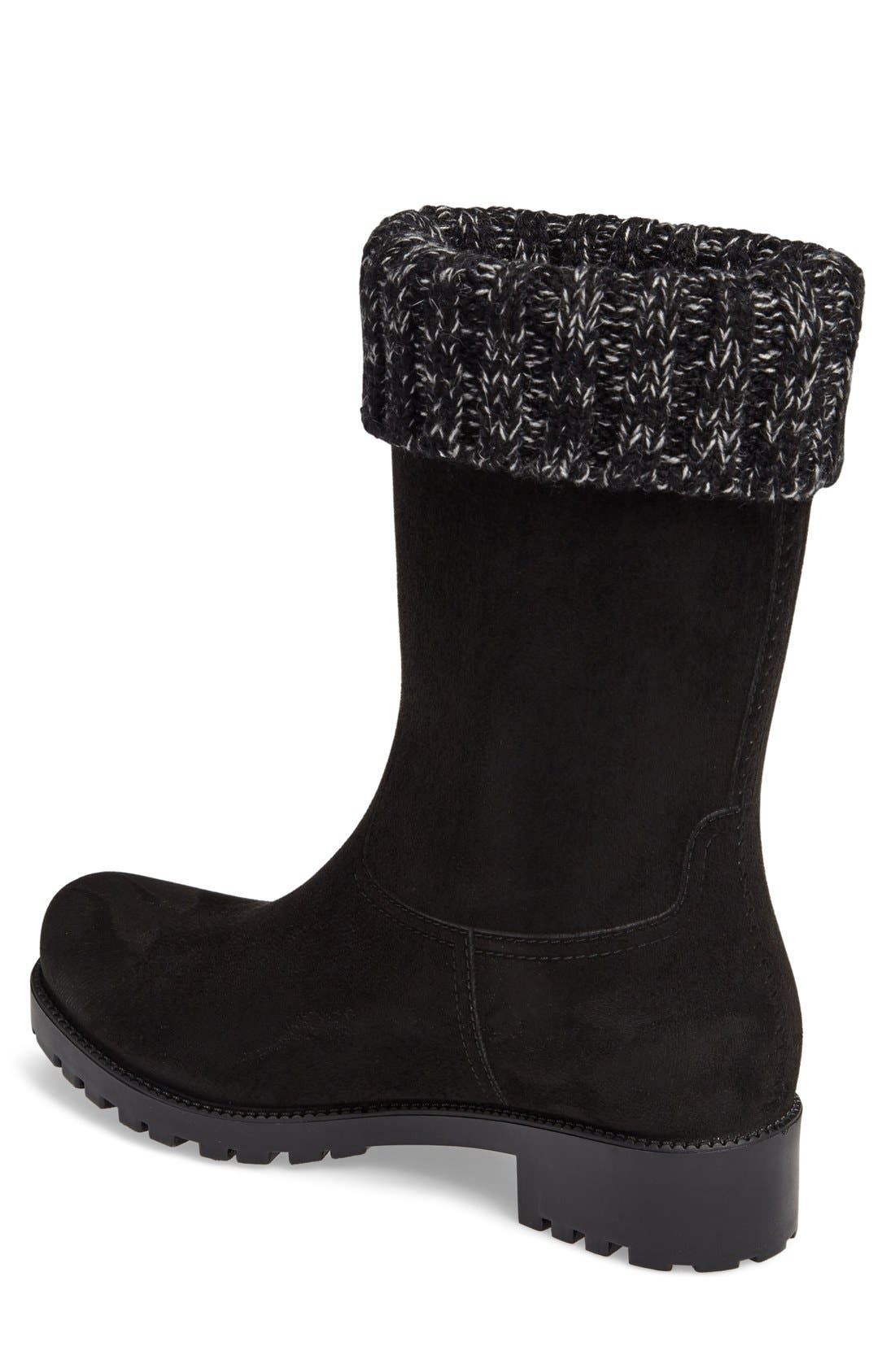 Shelby Knit Cuff Waterproof Boot,                             Alternate thumbnail 2, color,                             BLACK