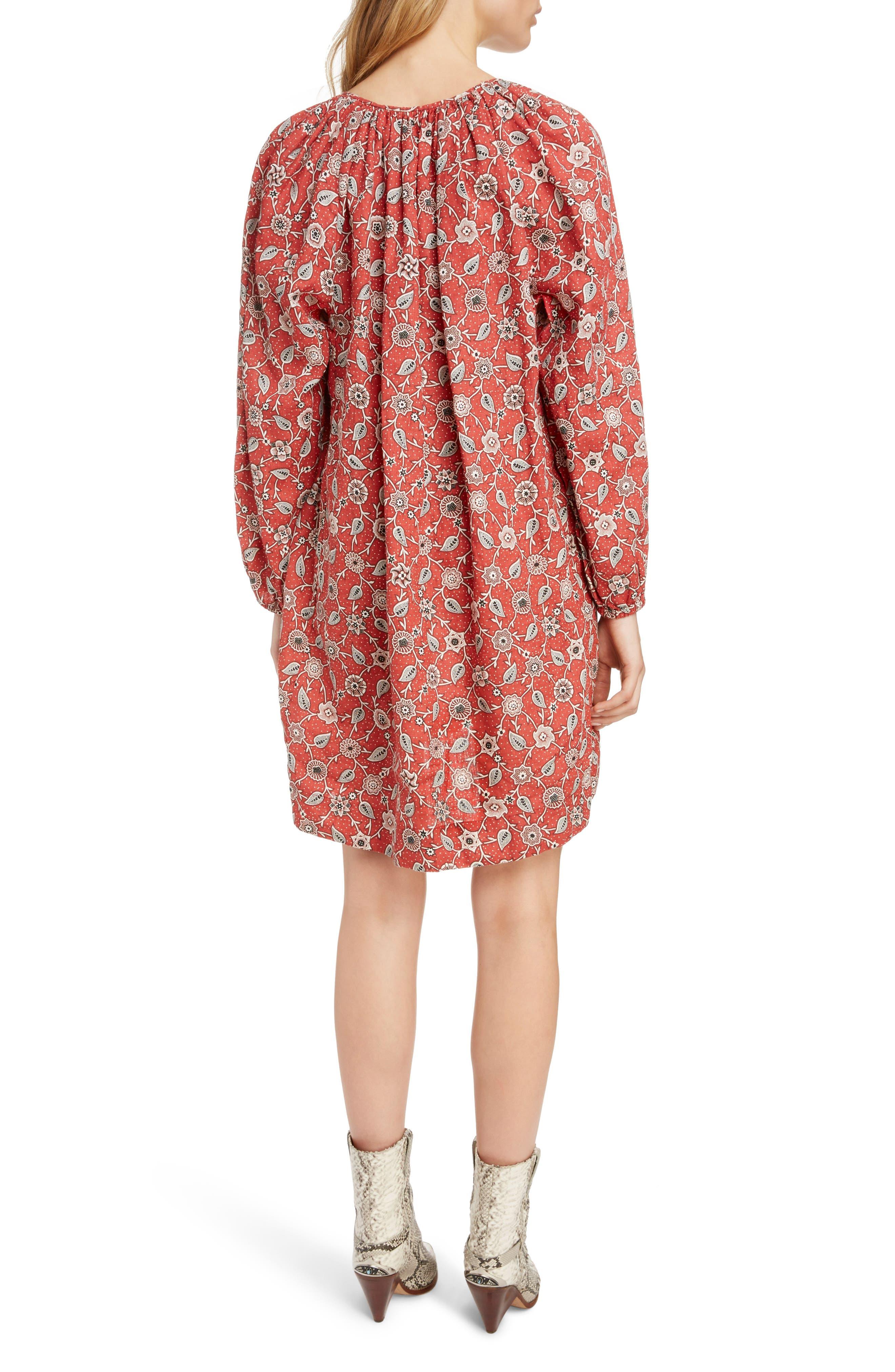 Tockya Print Linen Swing Dress,                             Alternate thumbnail 2, color,                             RUST