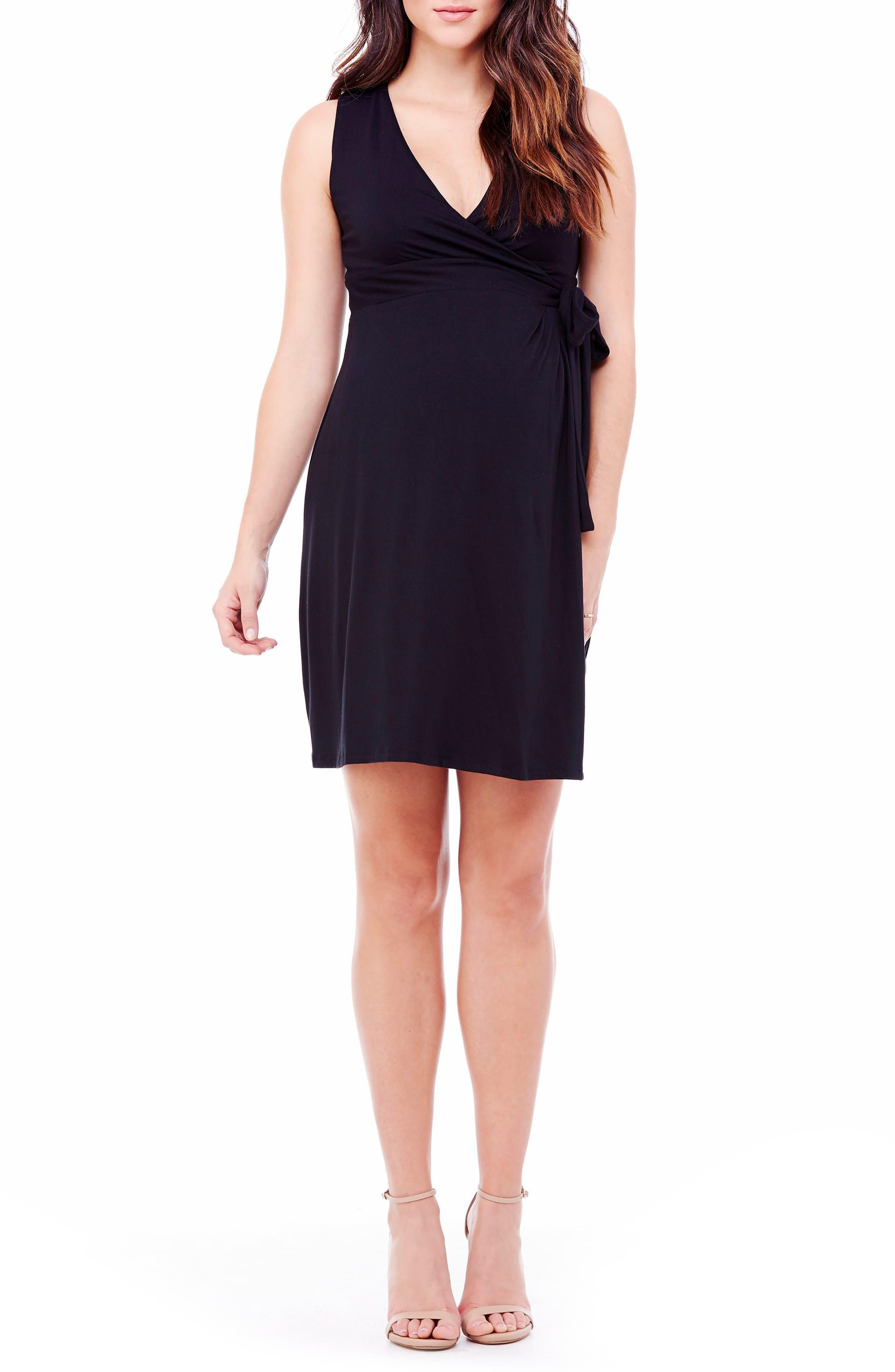 Sleeveless Wrap Maternity Dress,                             Alternate thumbnail 2, color,                             001