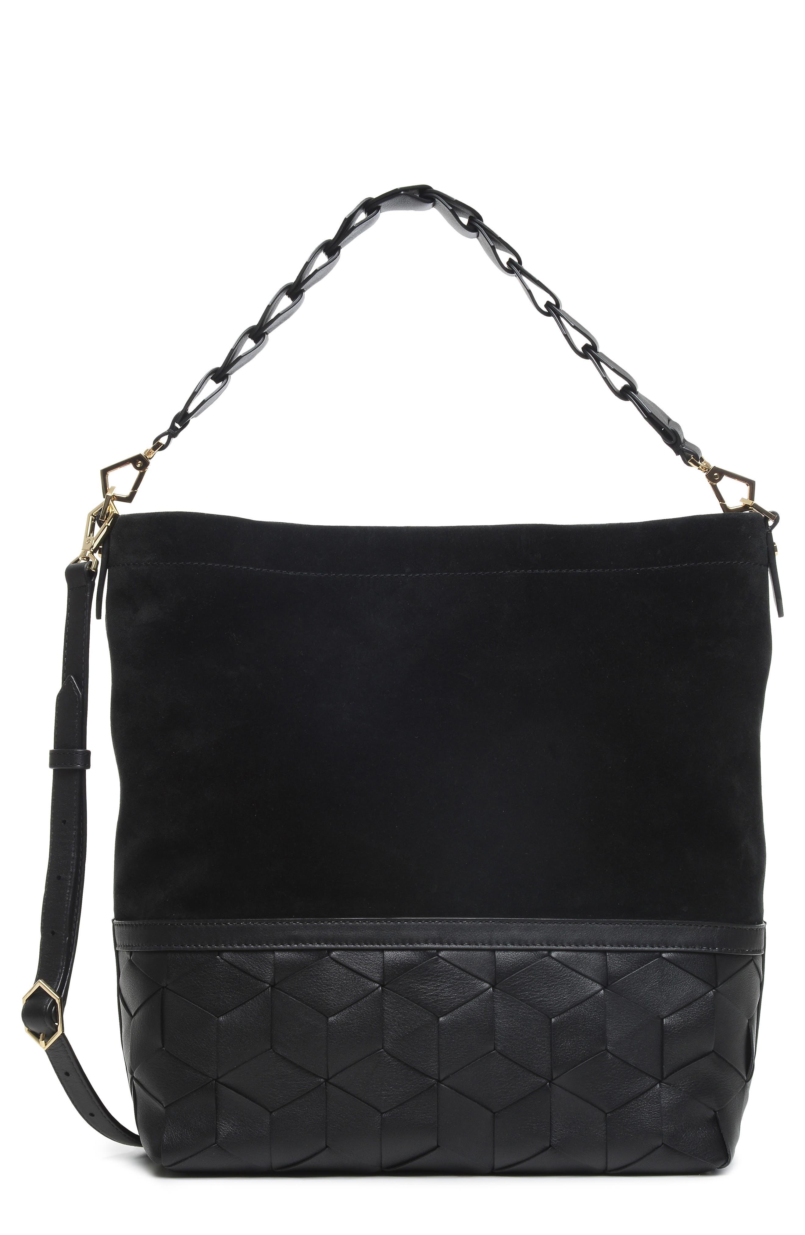 Promenade Leather & Suede Bucket Bag,                             Main thumbnail 1, color,                             001
