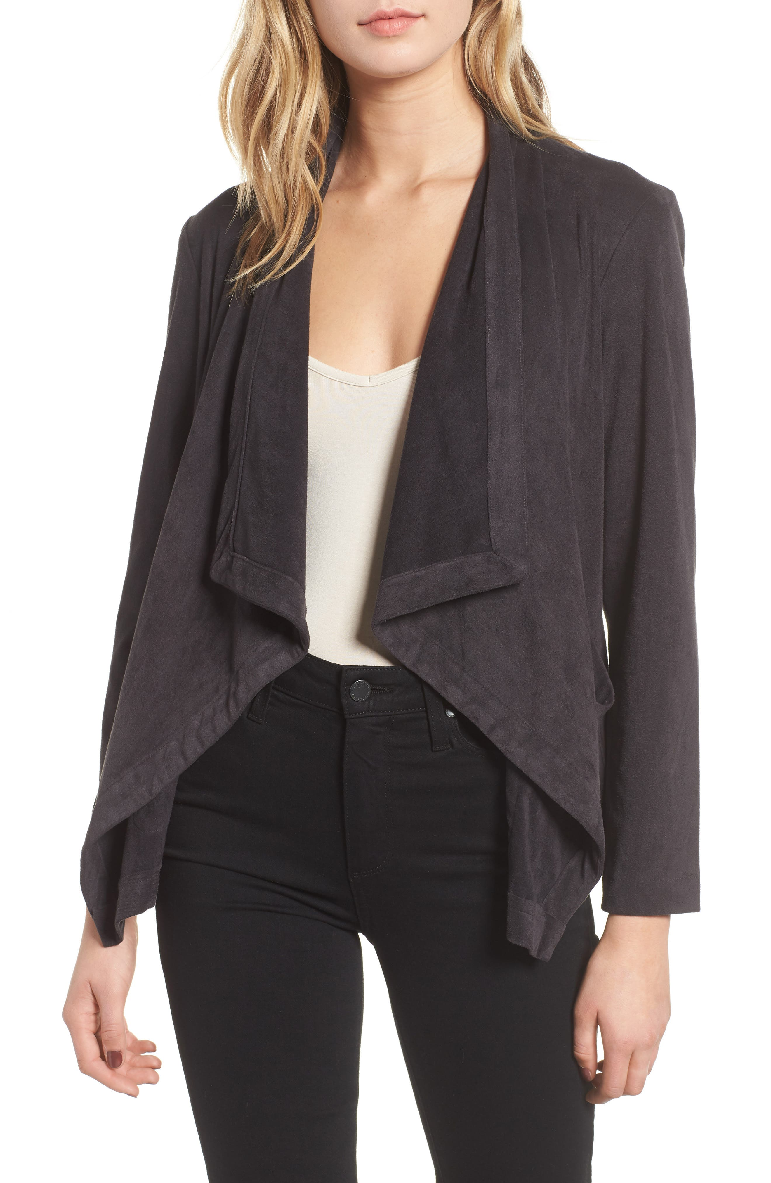 CUPCAKES AND CASHMERE Buckingham Faux-Suede Open-Front Jacket in Charcoal