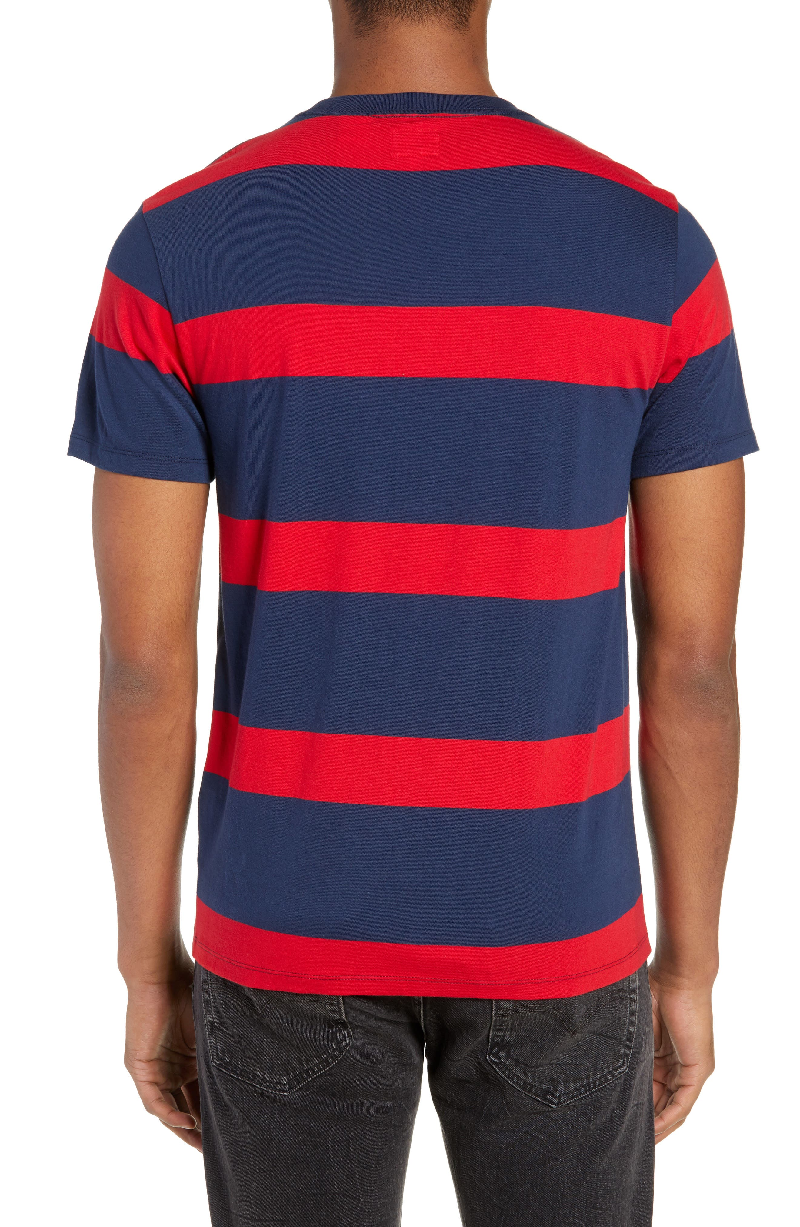 Stripe Pocket T-Shirt,                             Alternate thumbnail 2, color,                             DRESS BLUES/ CRIMSON STRIPES