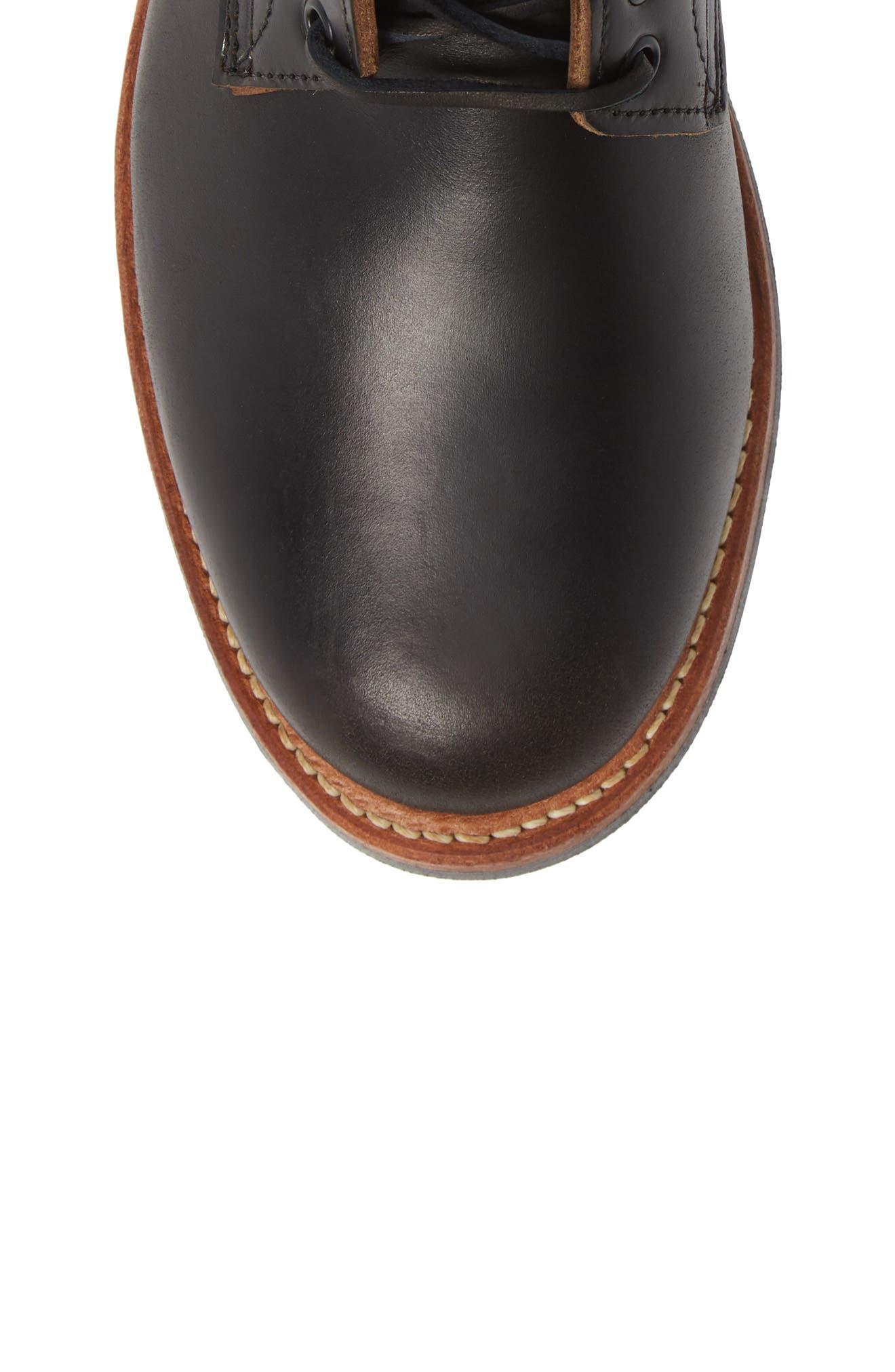 Trench Plain Toe boot,                             Alternate thumbnail 5, color,                             BLACK LEATHER