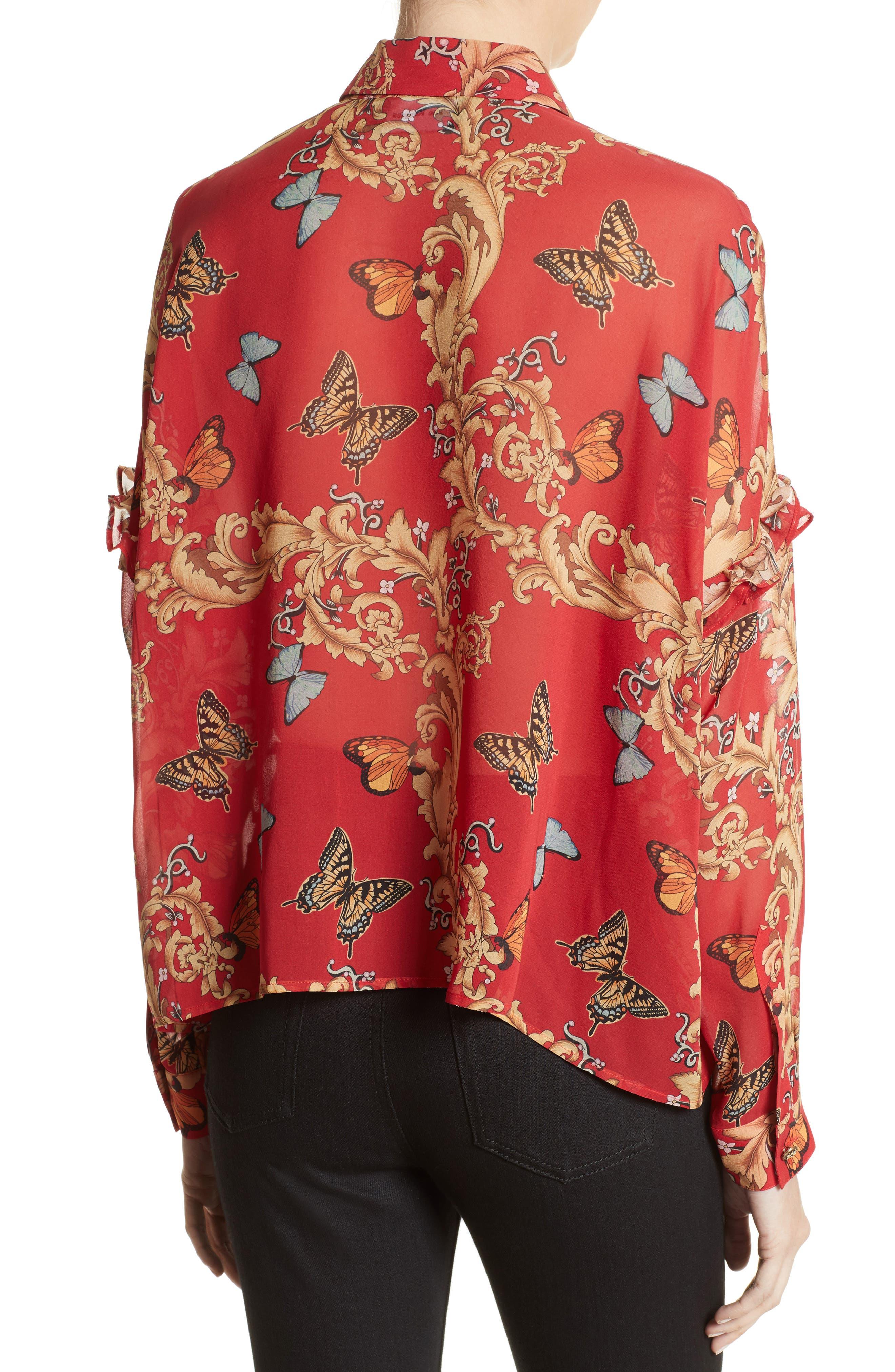 Print Ruffled Silk Shirt,                             Alternate thumbnail 2, color,                             600