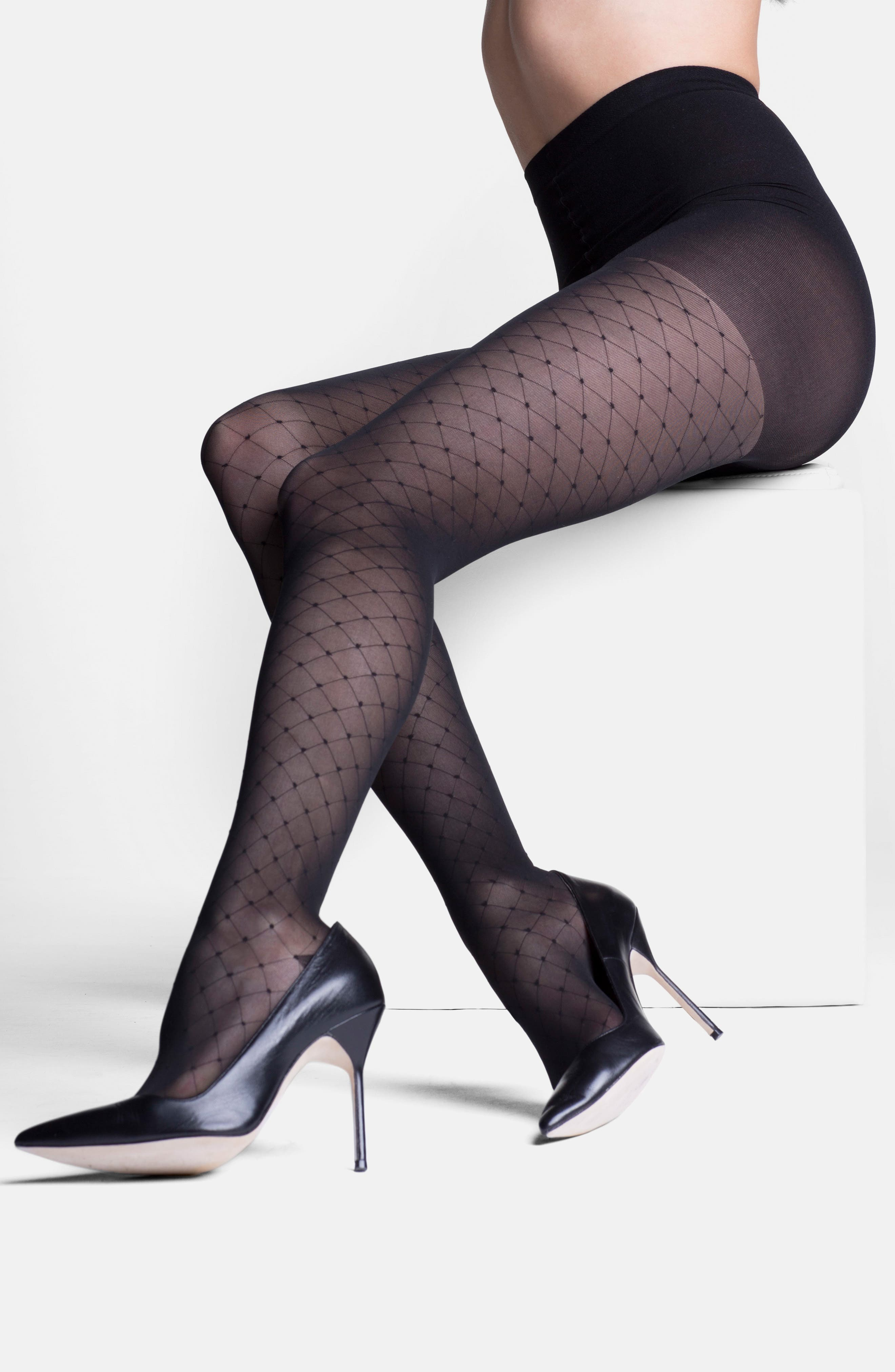 'Starlet' Diamond Pattern Compression Pantyhose,                             Alternate thumbnail 3, color,                             BLACK