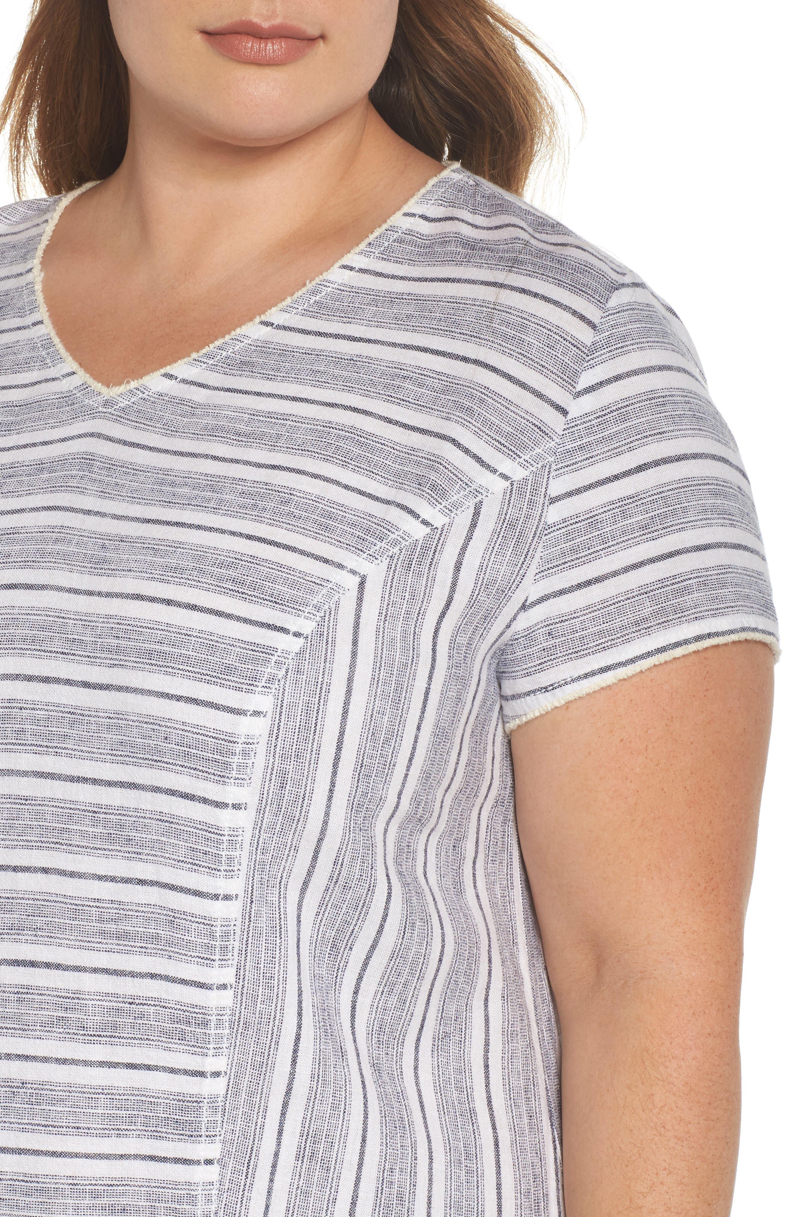 Raw Edge Stripe Linen Blend Dress,                             Alternate thumbnail 4, color,                             900