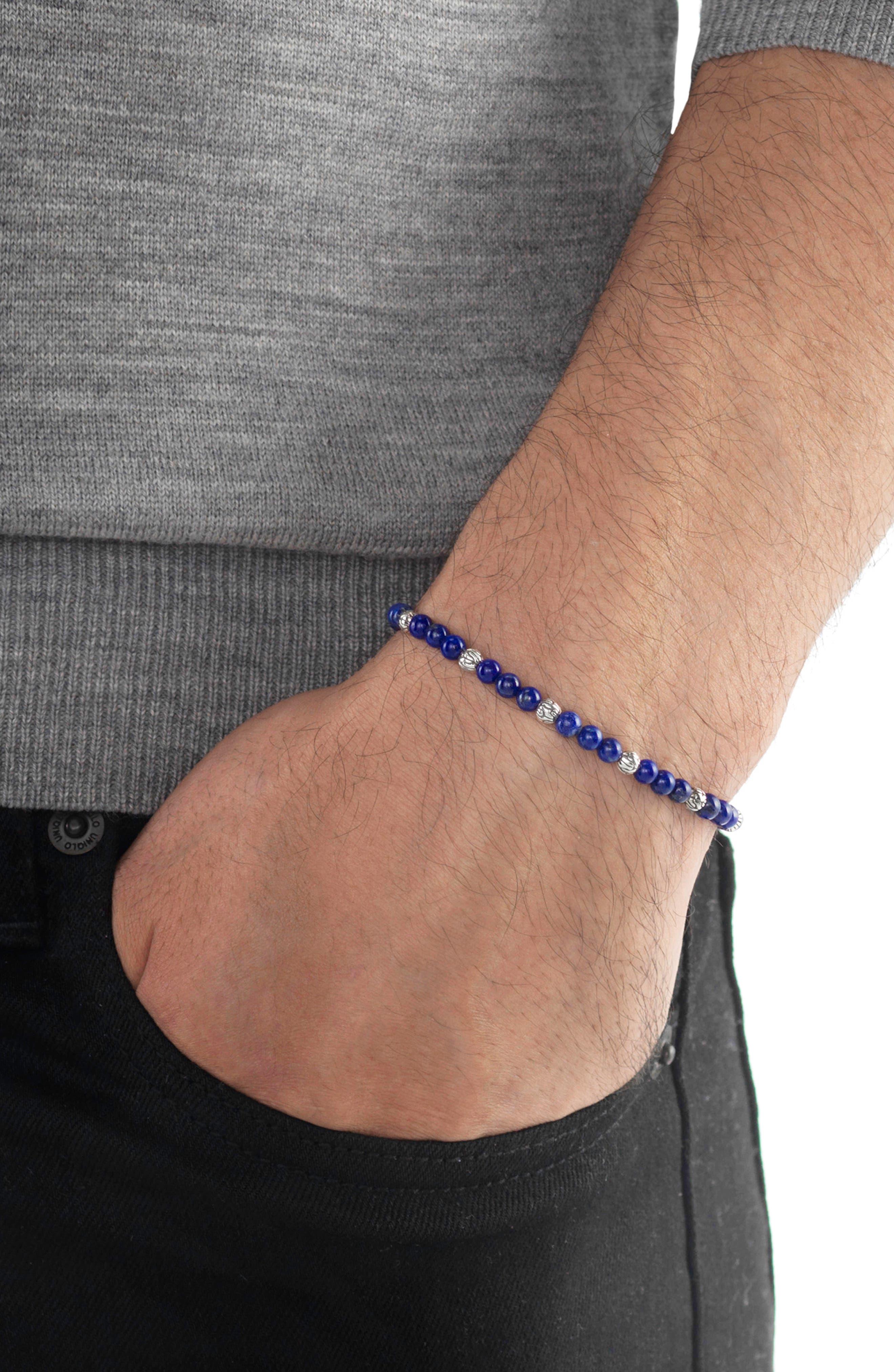 'Classic Chain' Beaded Friendship Bracelet,                             Alternate thumbnail 2, color,                             SILVER/ LAPIS LAZULI