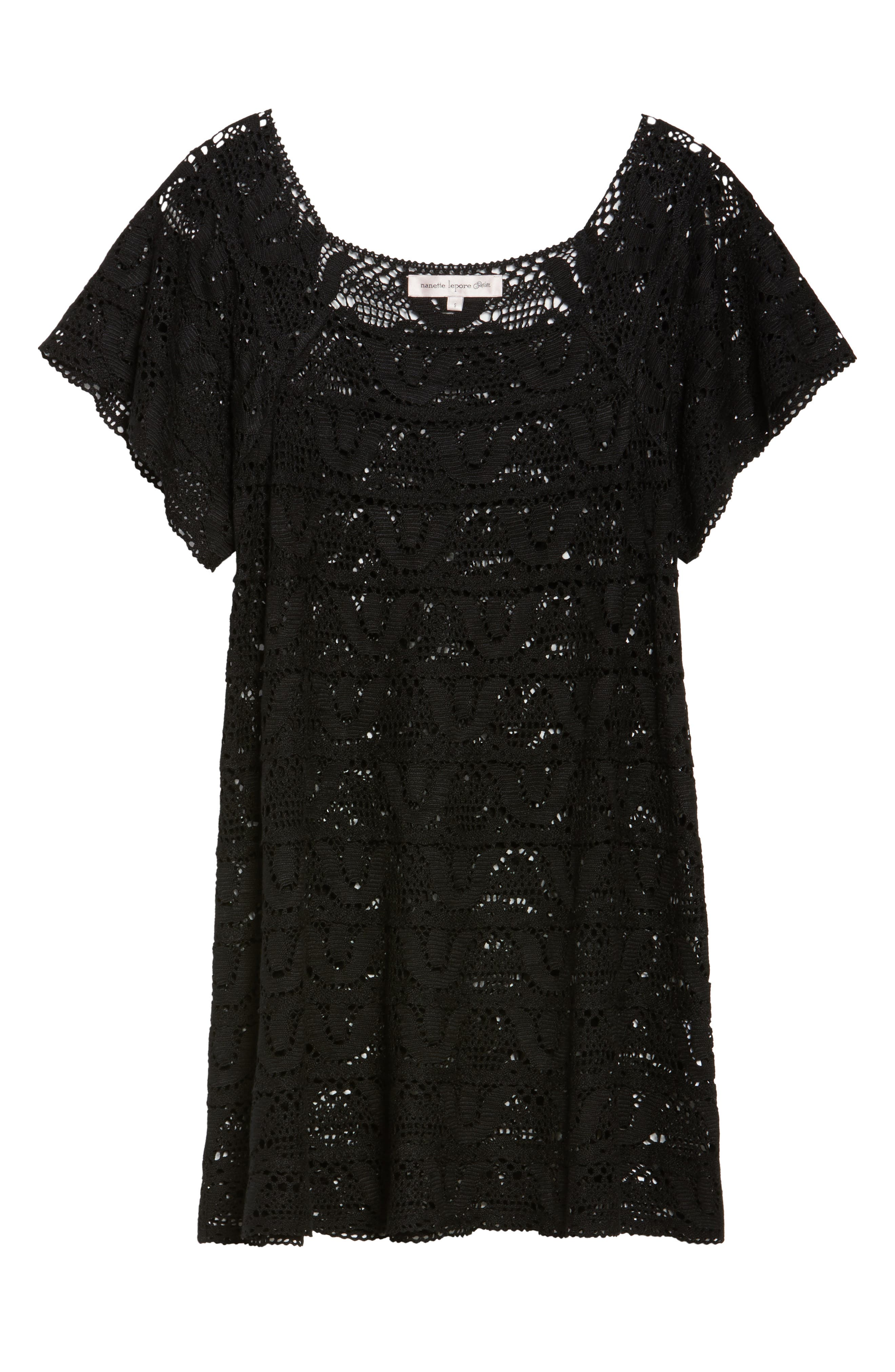 Nanette Lapore Crochet Cover-Up Dress,                             Alternate thumbnail 6, color,                             001