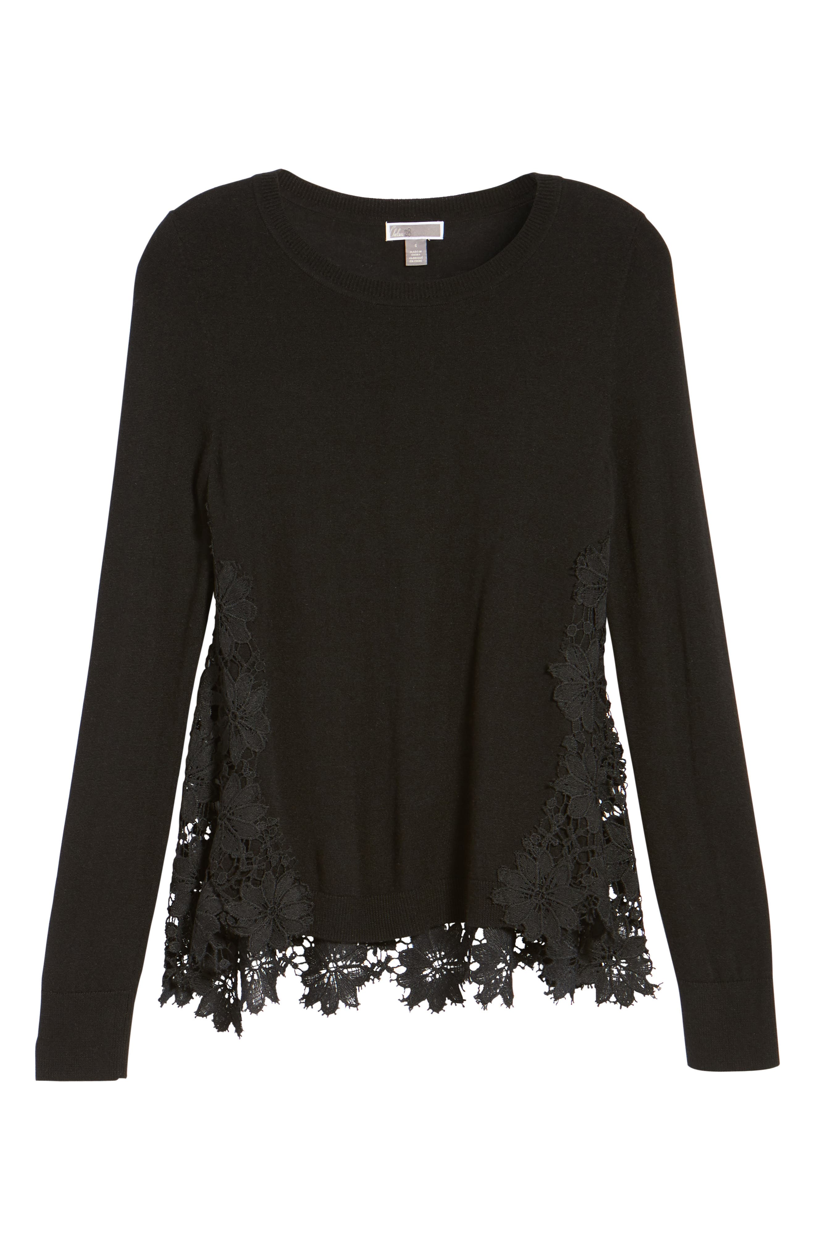 Lace Back Sweater,                             Alternate thumbnail 7, color,                             001