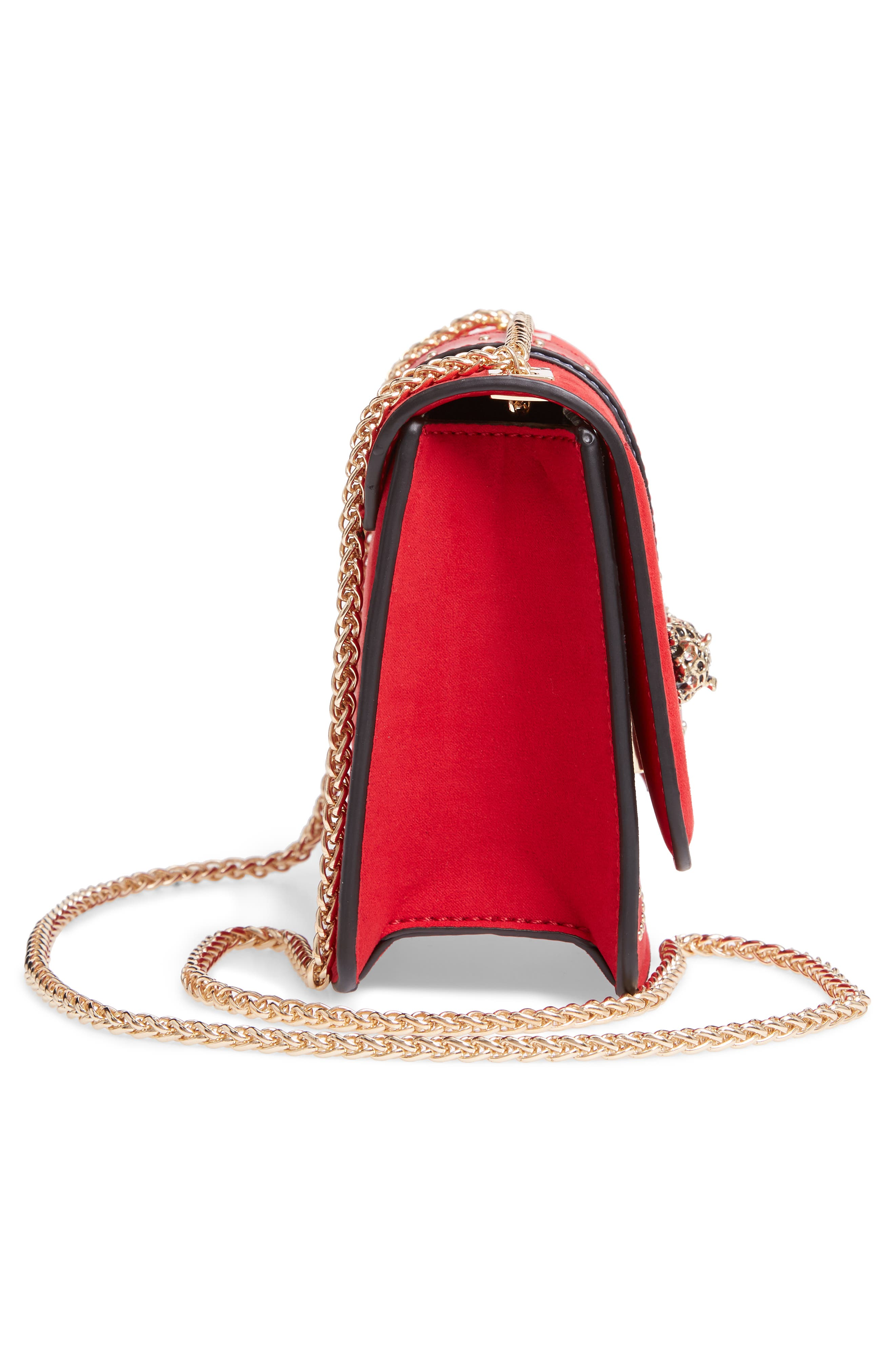 Panther Crossbody Bag,                             Alternate thumbnail 5, color,                             RED