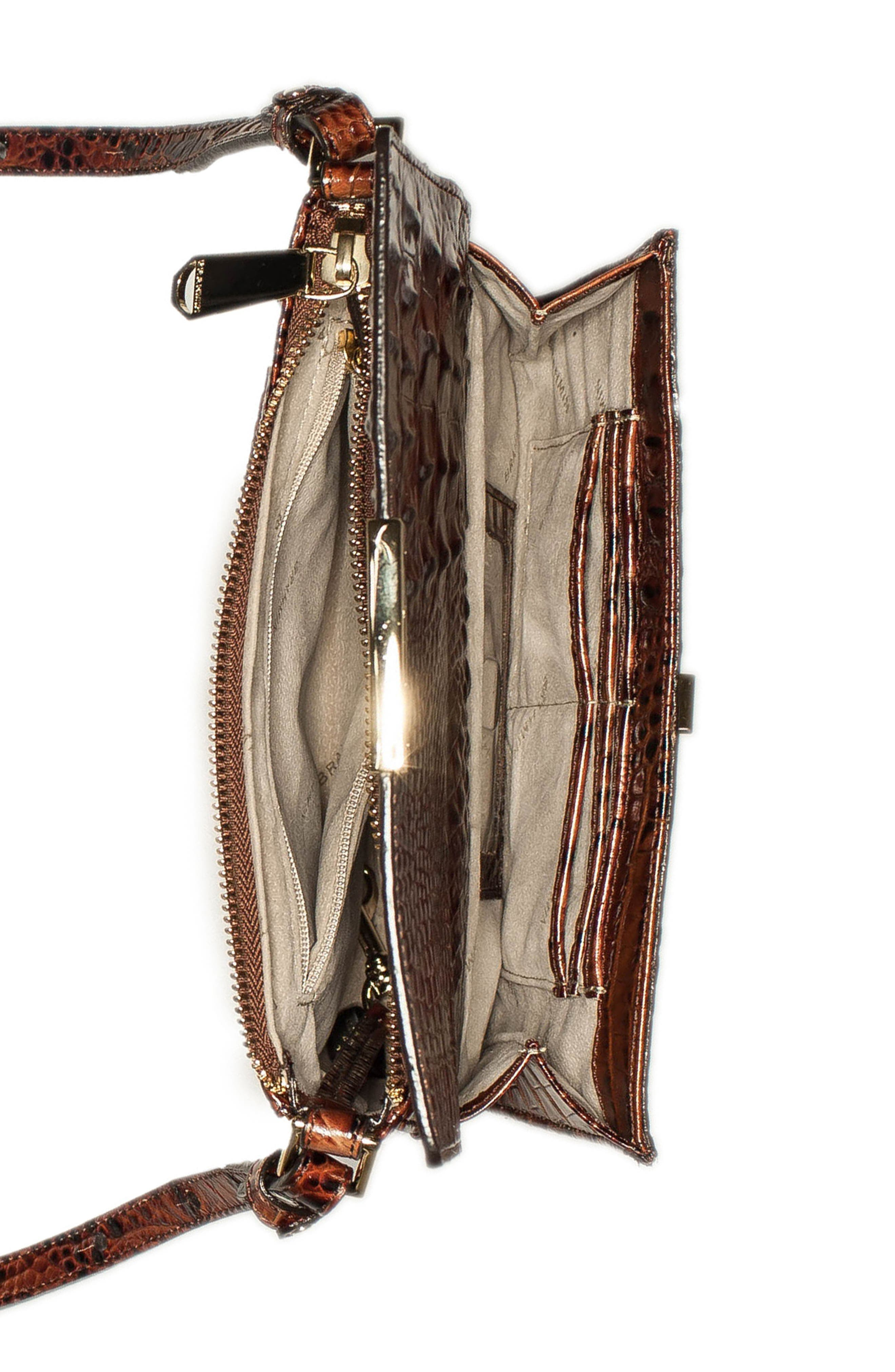 Melbourne Manhattan Croc Embossed Leather Crossbody Bag,                             Alternate thumbnail 4, color,                             PECAN