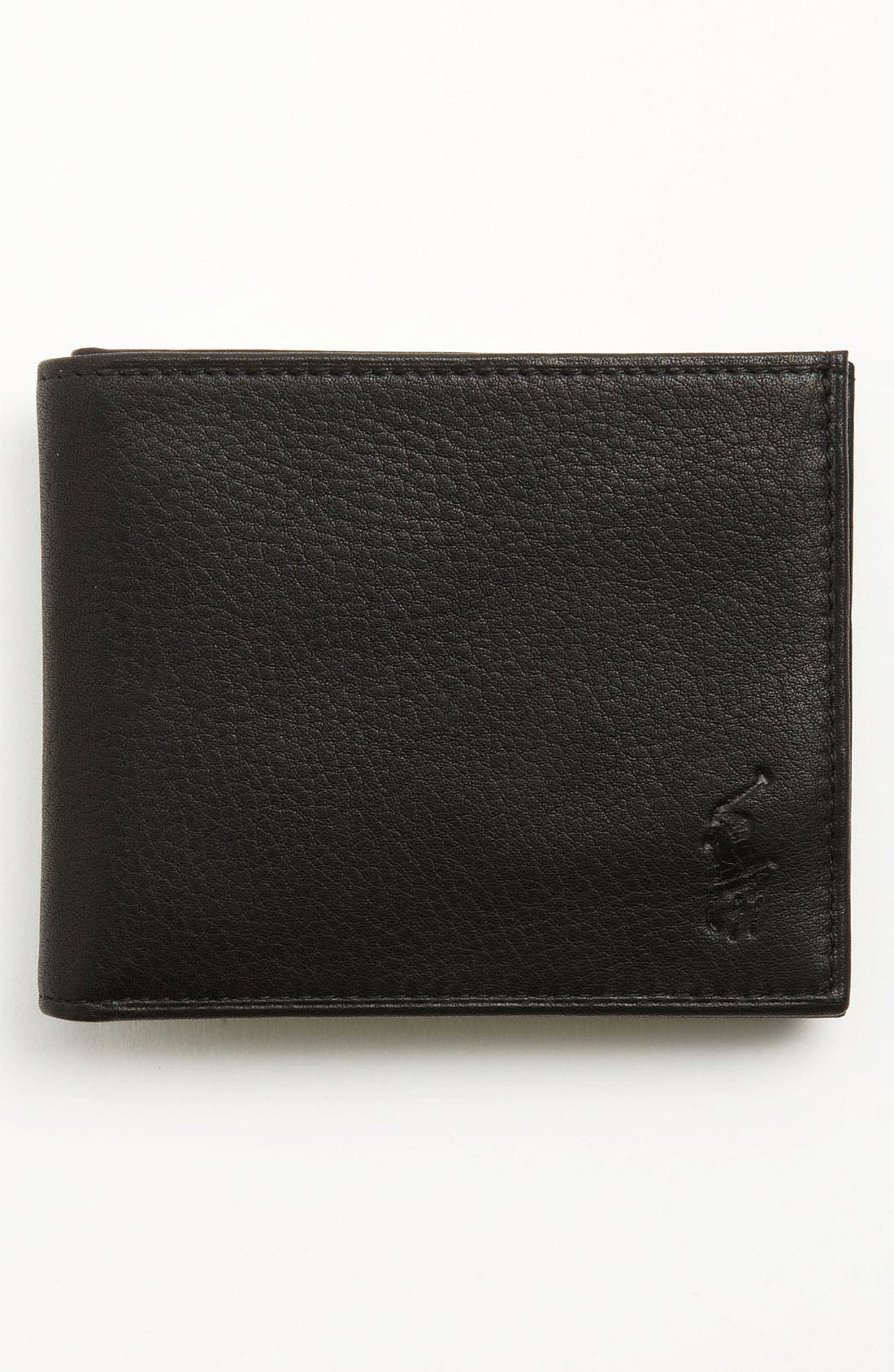 Bifold Leather Wallet,                             Main thumbnail 1, color,                             BLACK