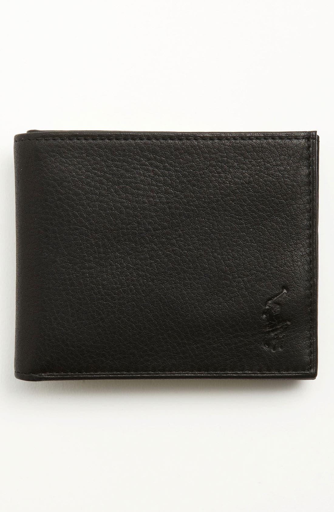 Bifold Leather Wallet,                         Main,                         color, BLACK