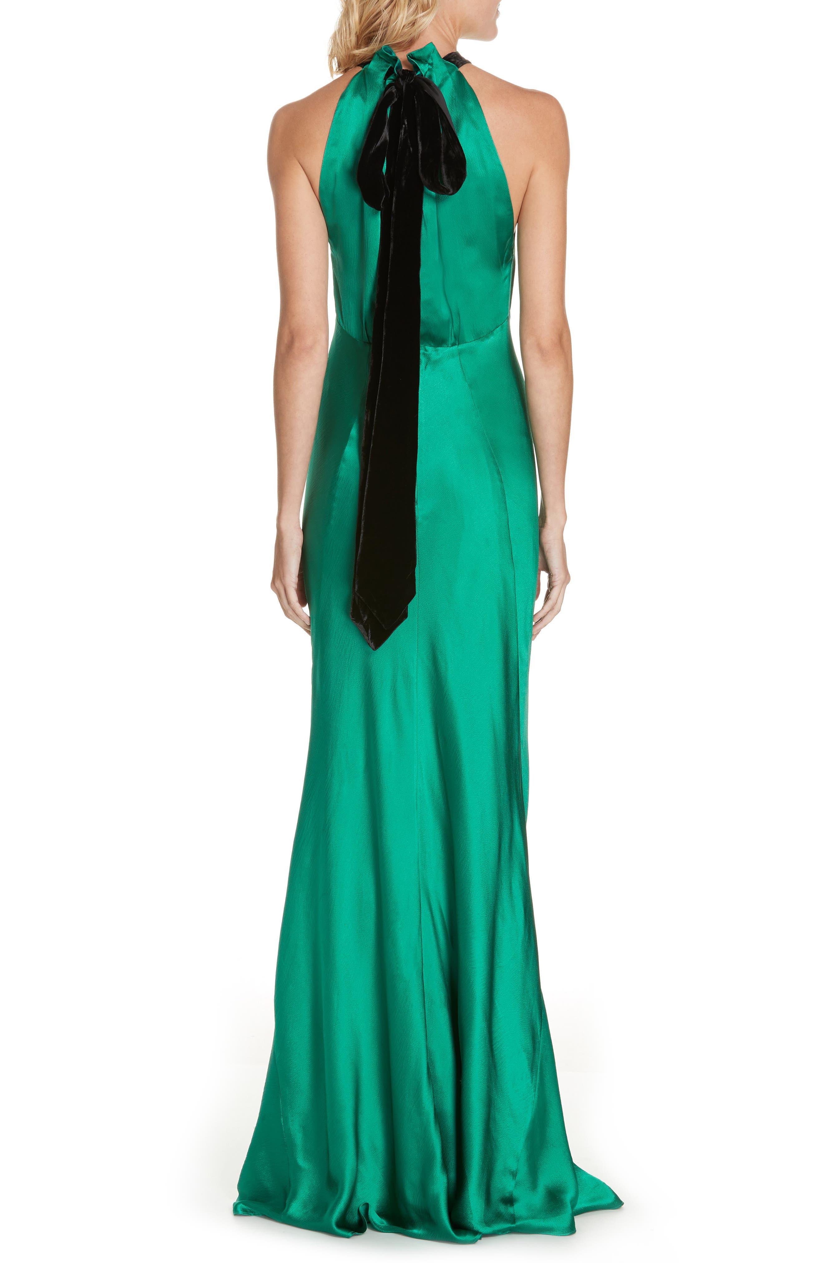 Michelle Velvet Bow Silk Halter Gown,                             Alternate thumbnail 2, color,                             EMERALD GREEN
