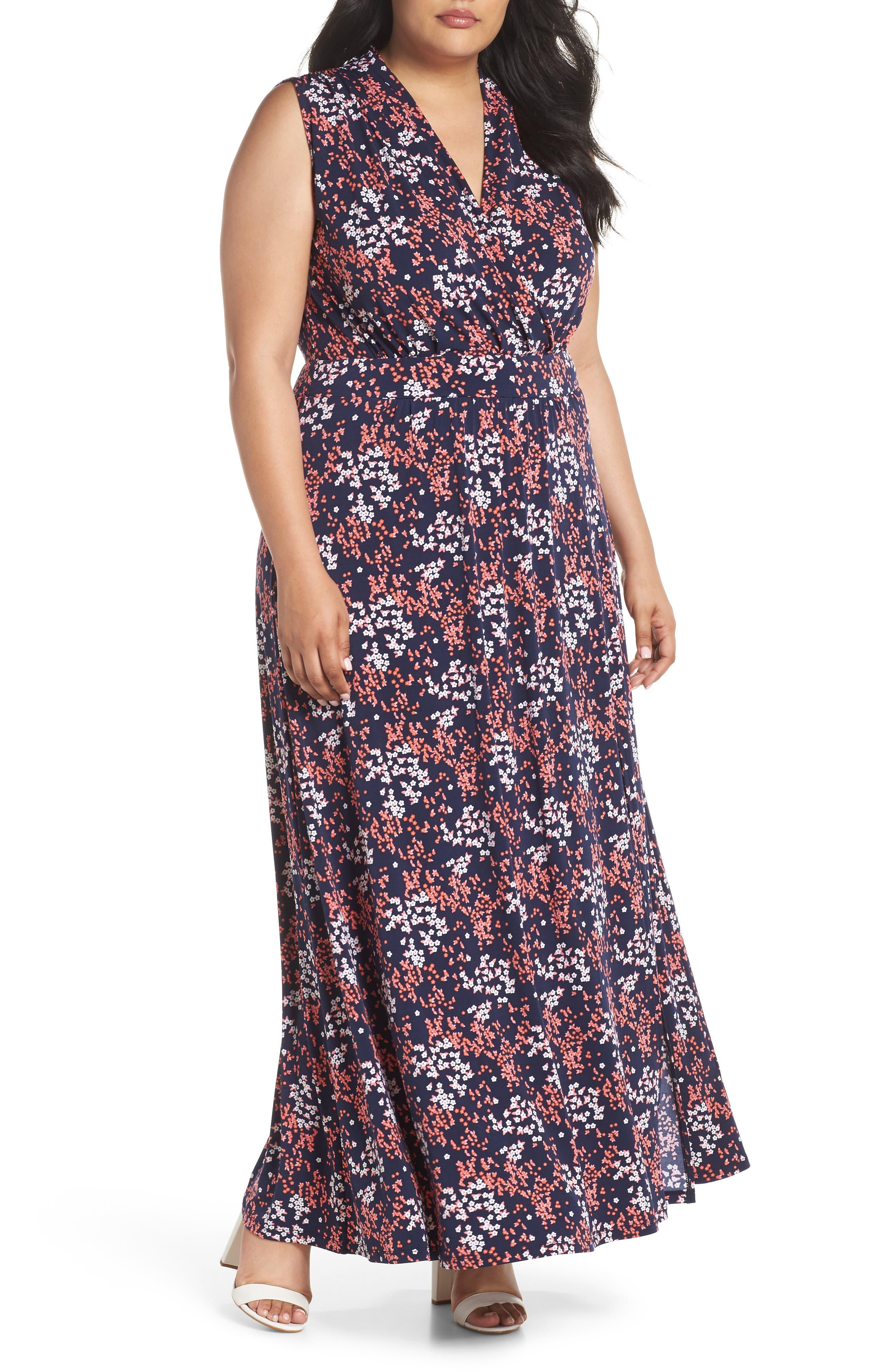 Floral Print Maxi Dress,                             Main thumbnail 1, color,