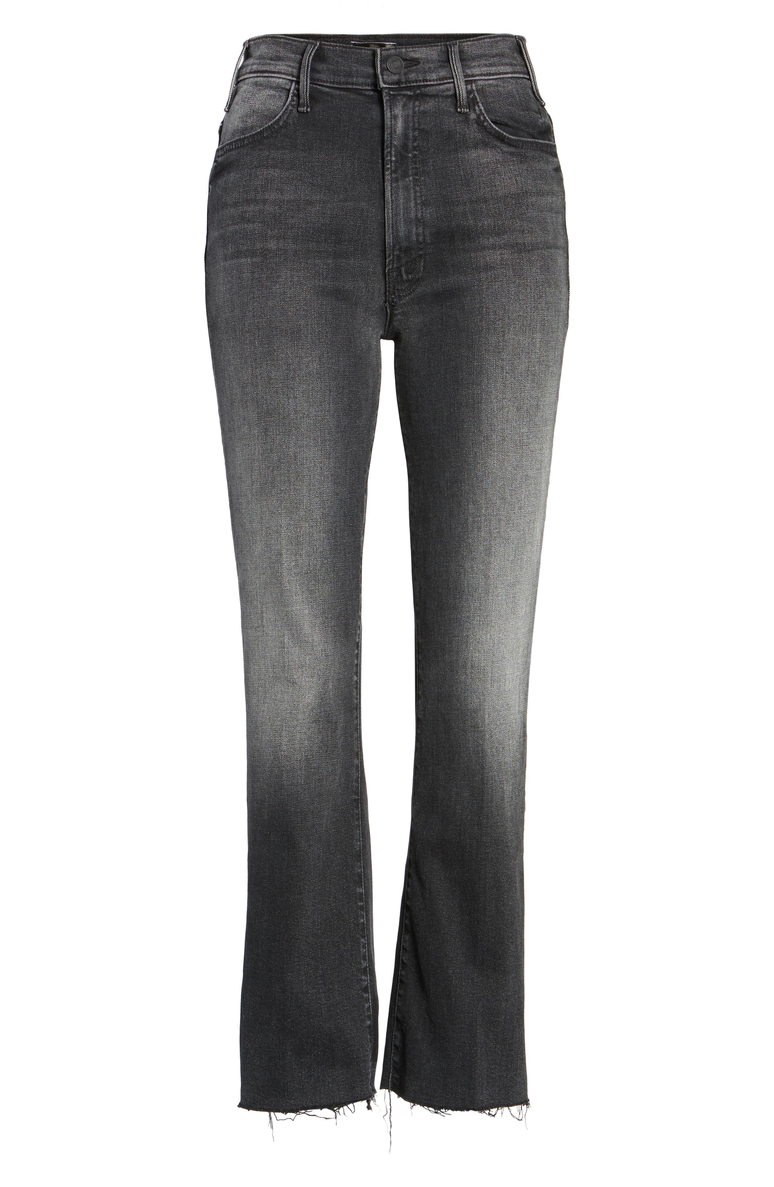 The Hustler Frayed Ankle Jeans,                             Alternate thumbnail 6, color,                             001