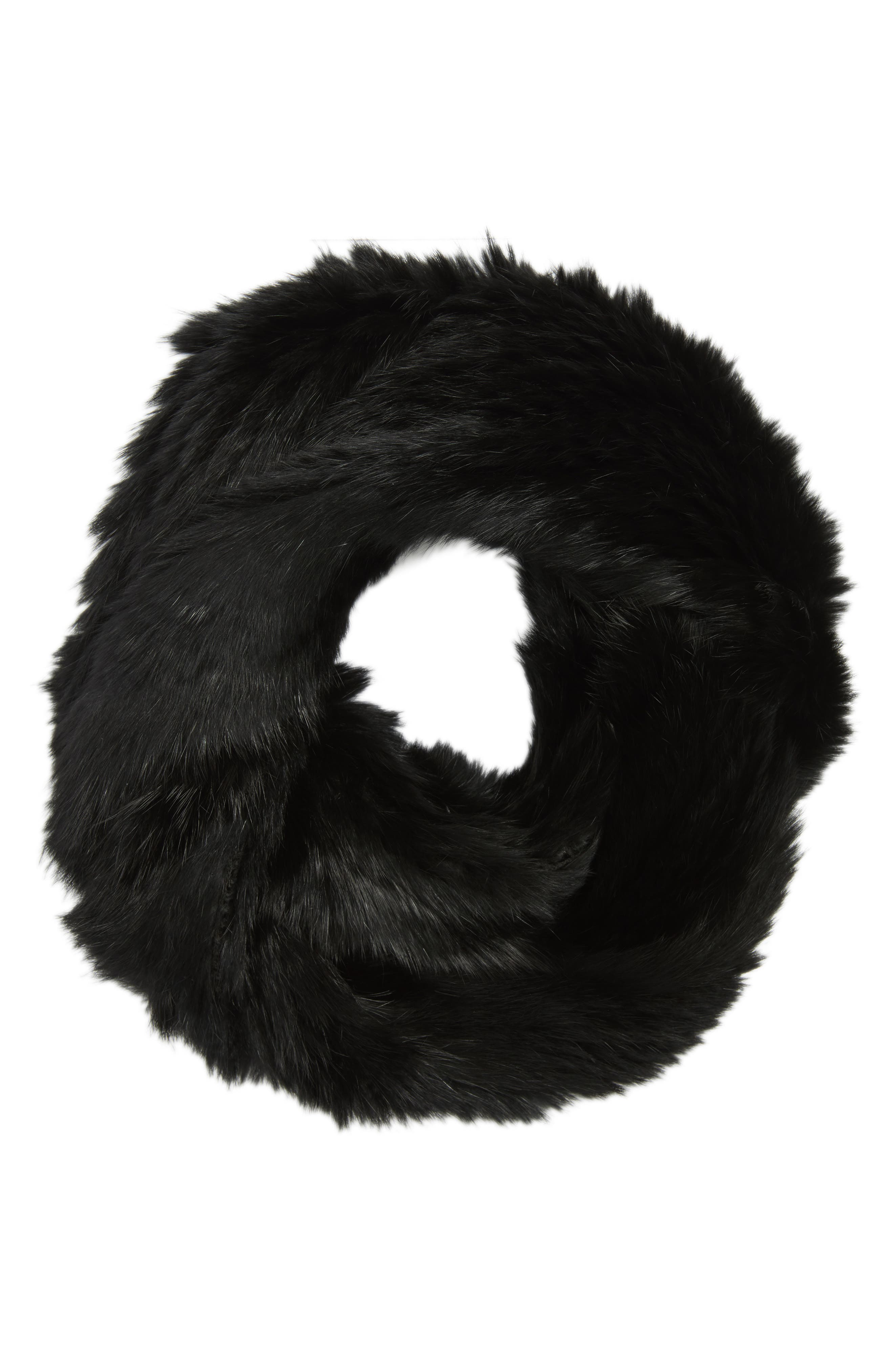 Solid Genuine Rabbit Infinity Scarf,                             Alternate thumbnail 5, color,