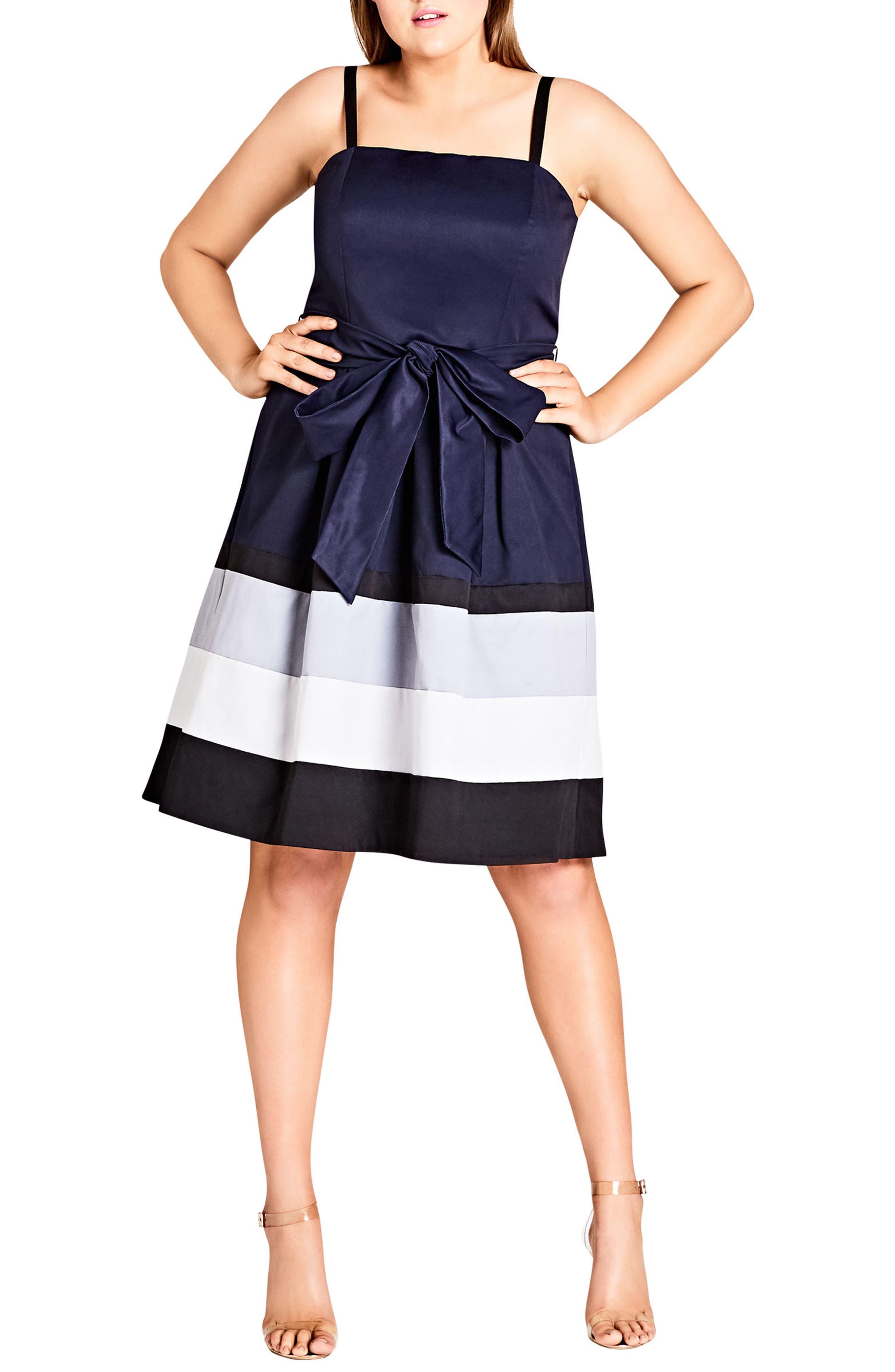Block Stripe Sleeveless Fit & Flare Dress,                             Alternate thumbnail 3, color,                             NAVY