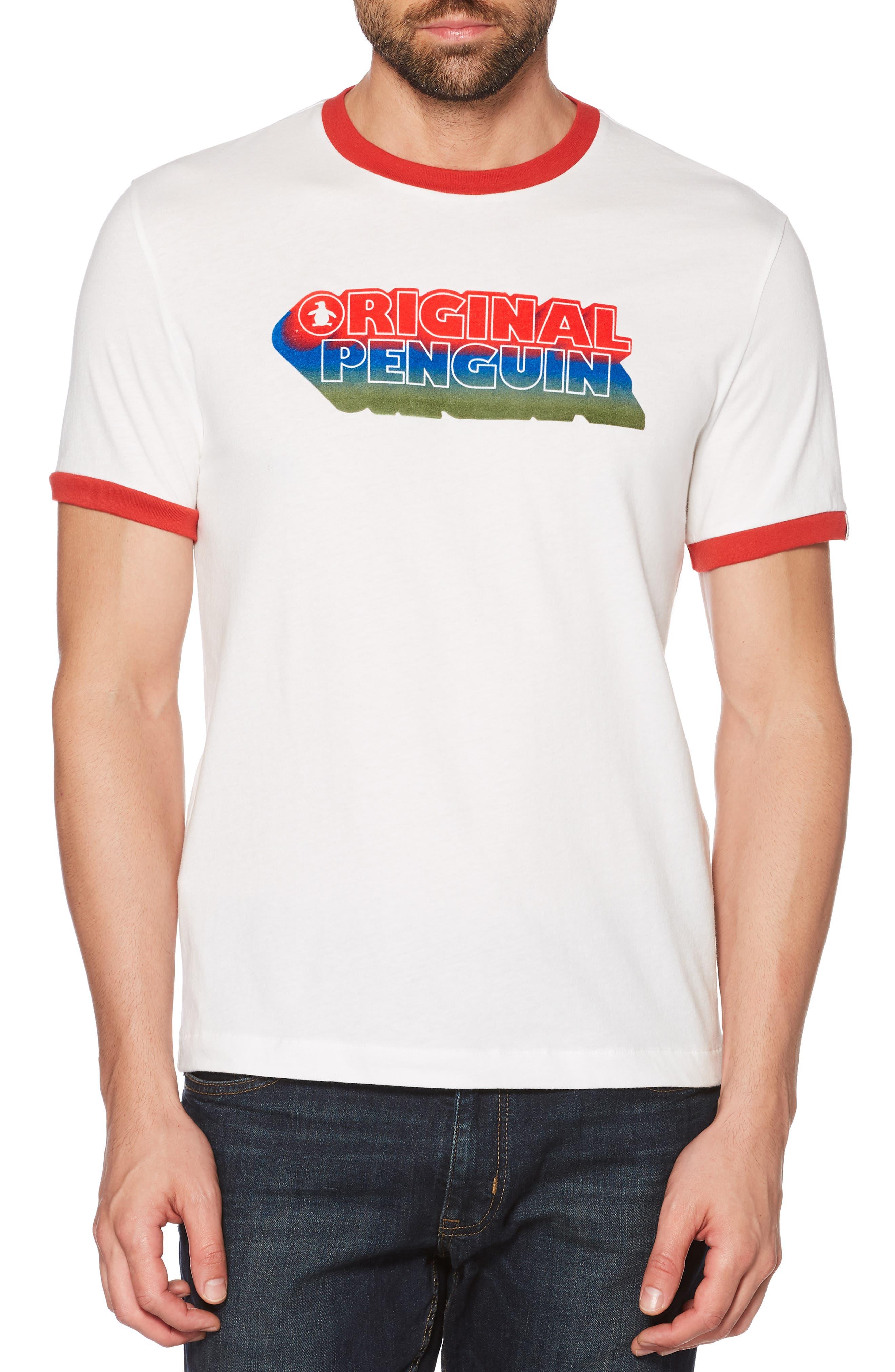 Original Penguin Retro Logo Ringer T-Shirt, White