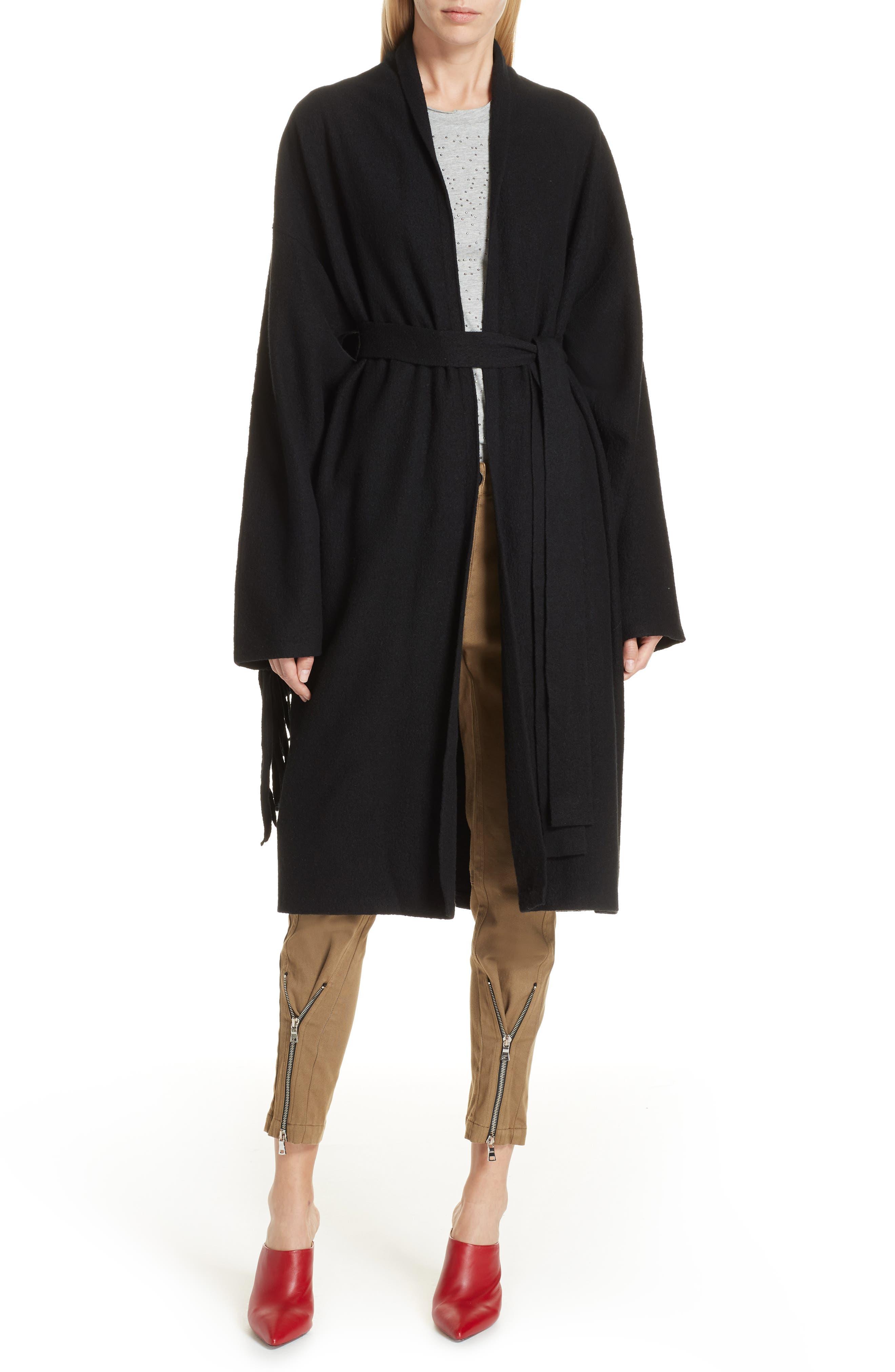 Fringe Detail Boiled Wool & Cashmere Wrap Coat,                             Alternate thumbnail 7, color,                             BLACK