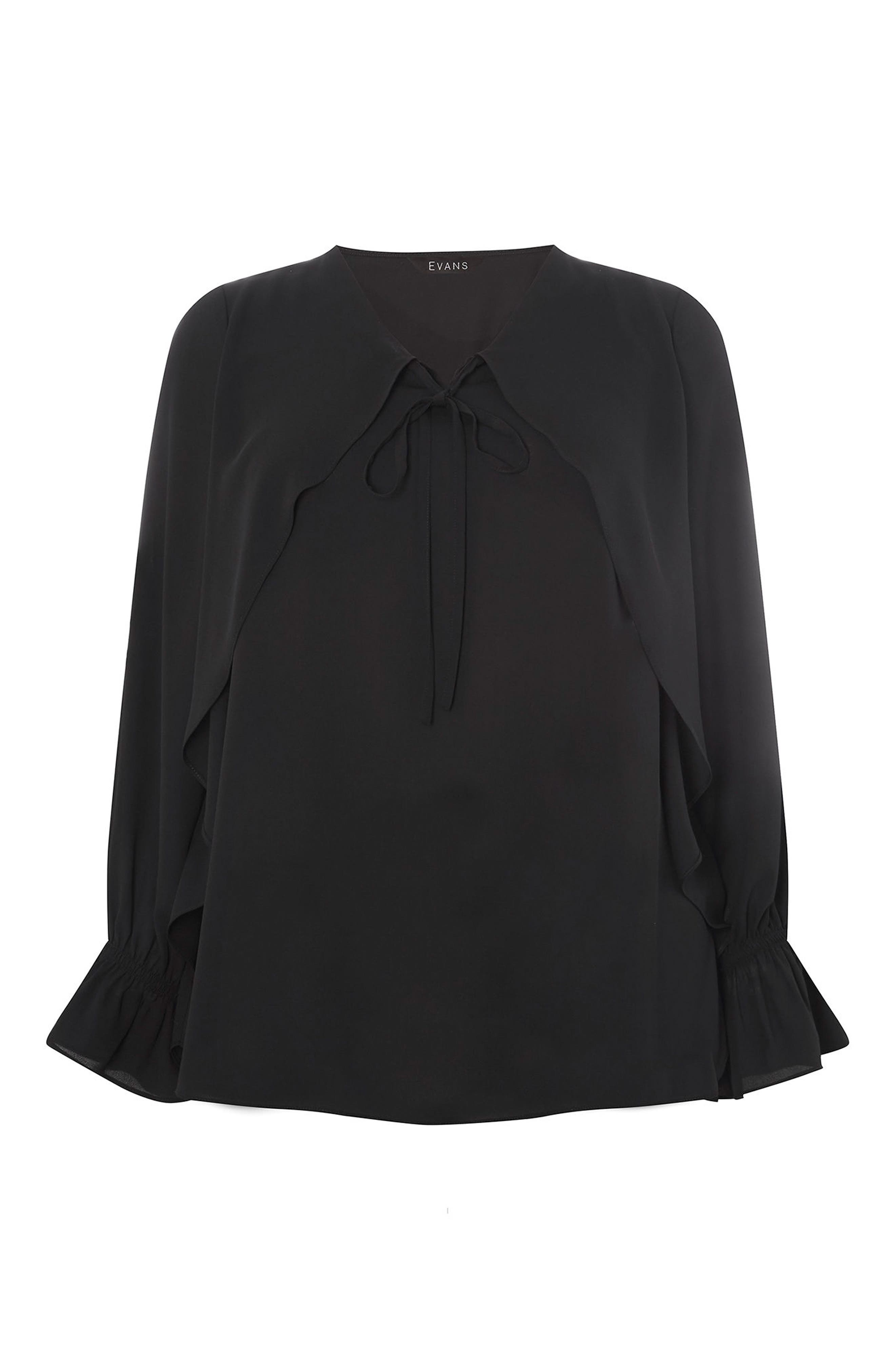 Tie Neck Bell Sleeve Blouse,                             Alternate thumbnail 4, color,                             001
