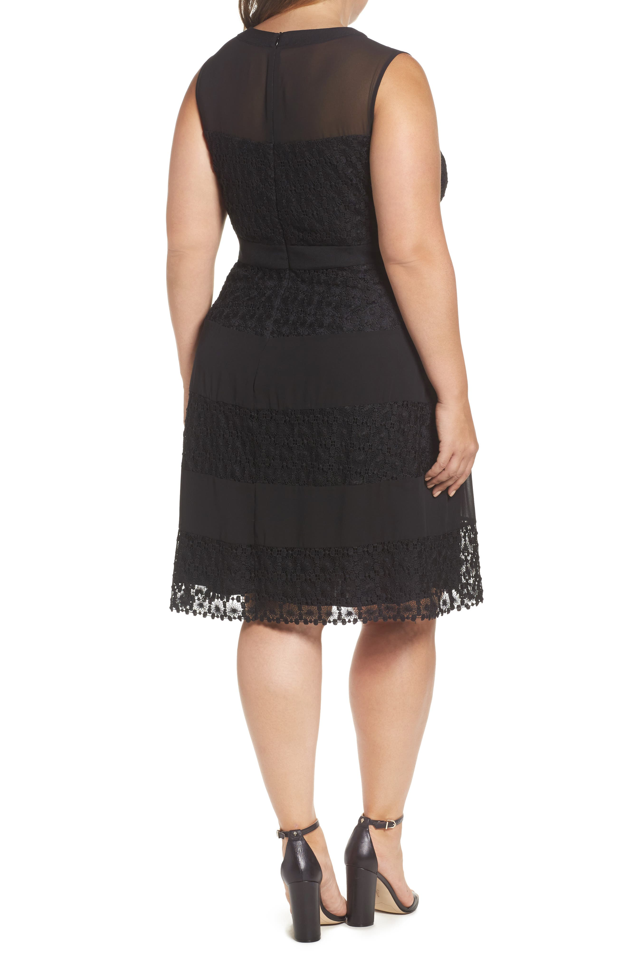 London Time Geo Galaxy Lace Fit & Flare Dress,                             Alternate thumbnail 2, color,                             001