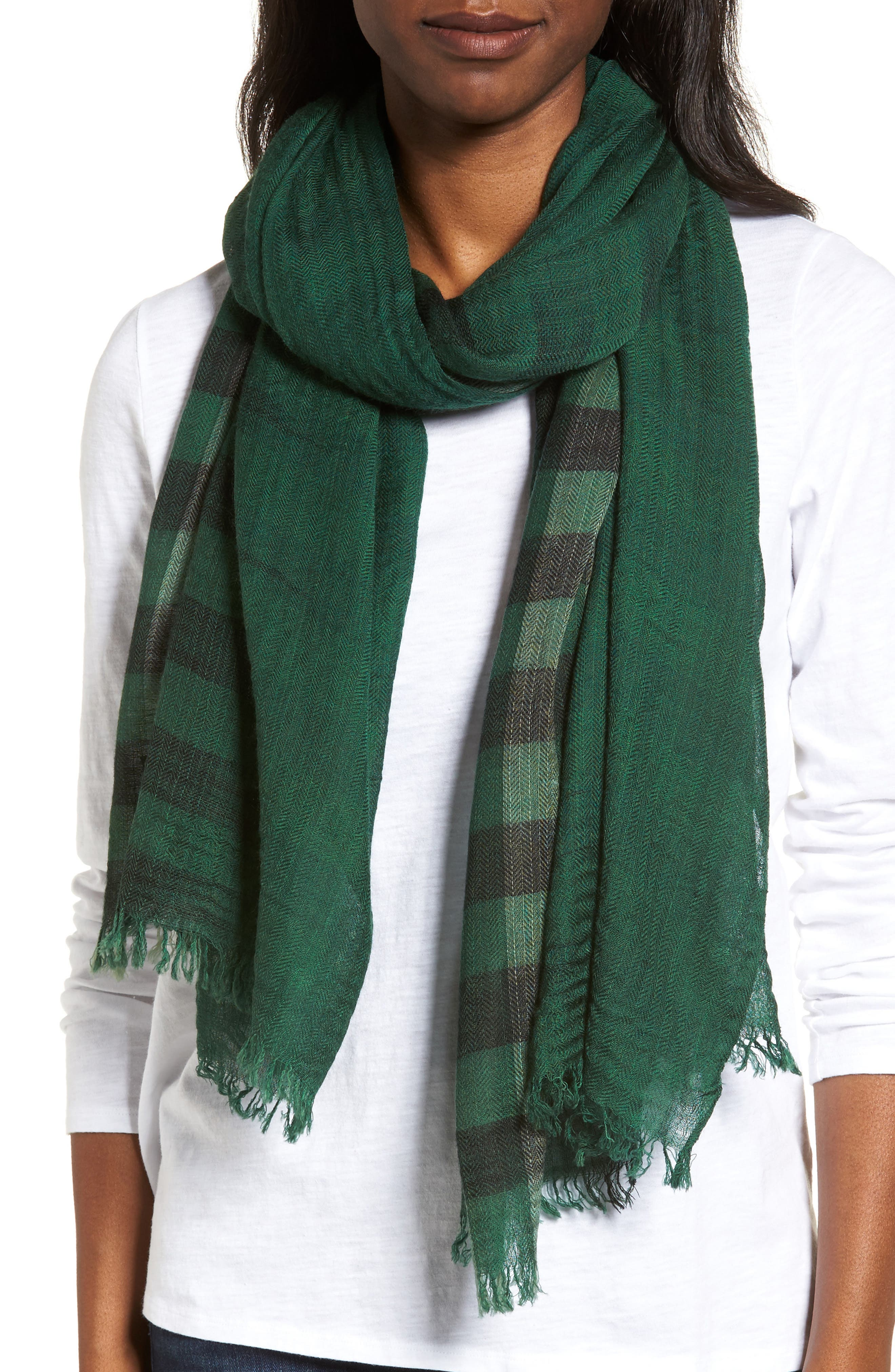 EILEEN FISHER Plaid Wool Scarf, Main, color, 369