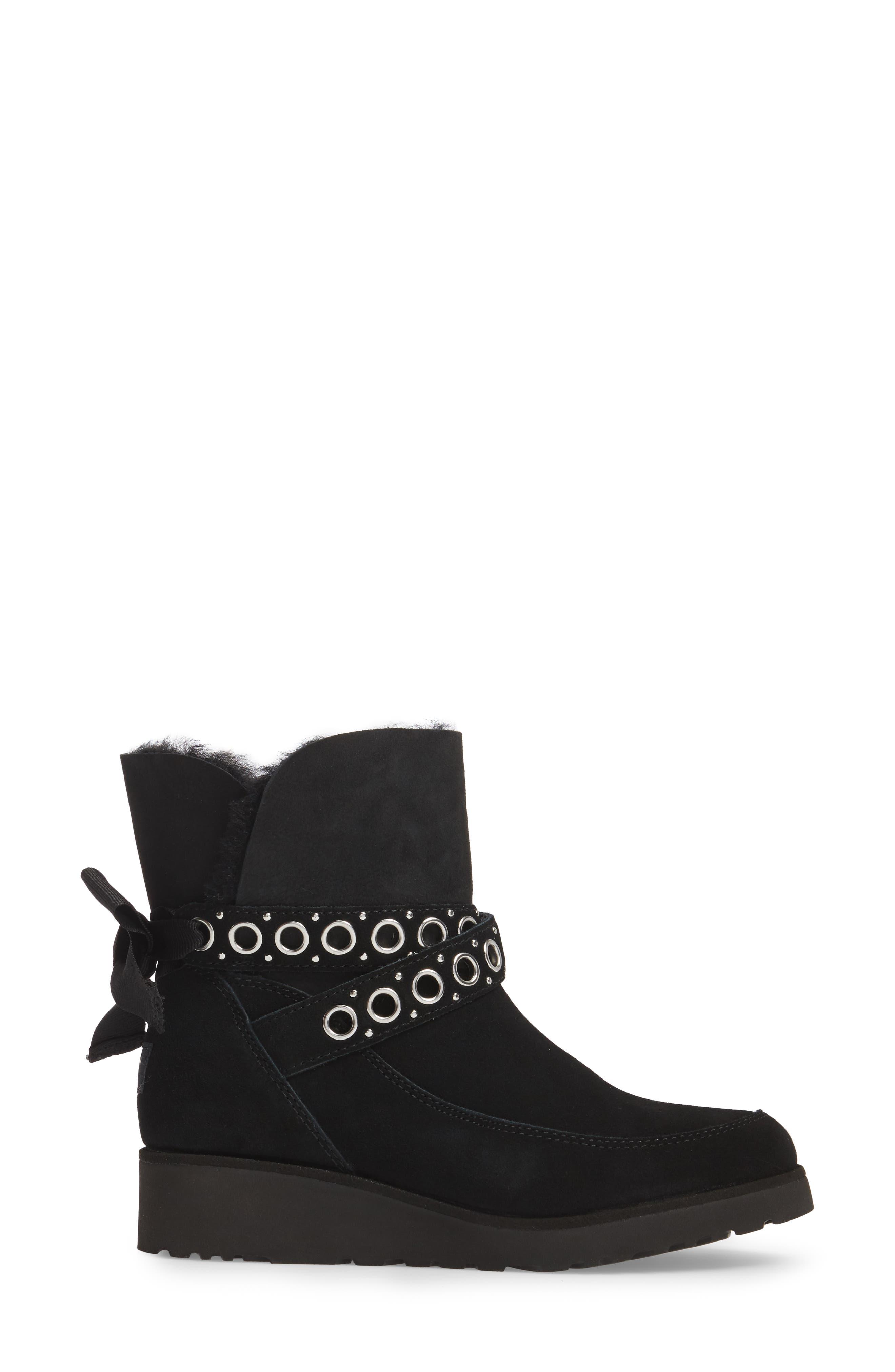 Alisia Grommet Bow Boot,                             Alternate thumbnail 3, color,                             001