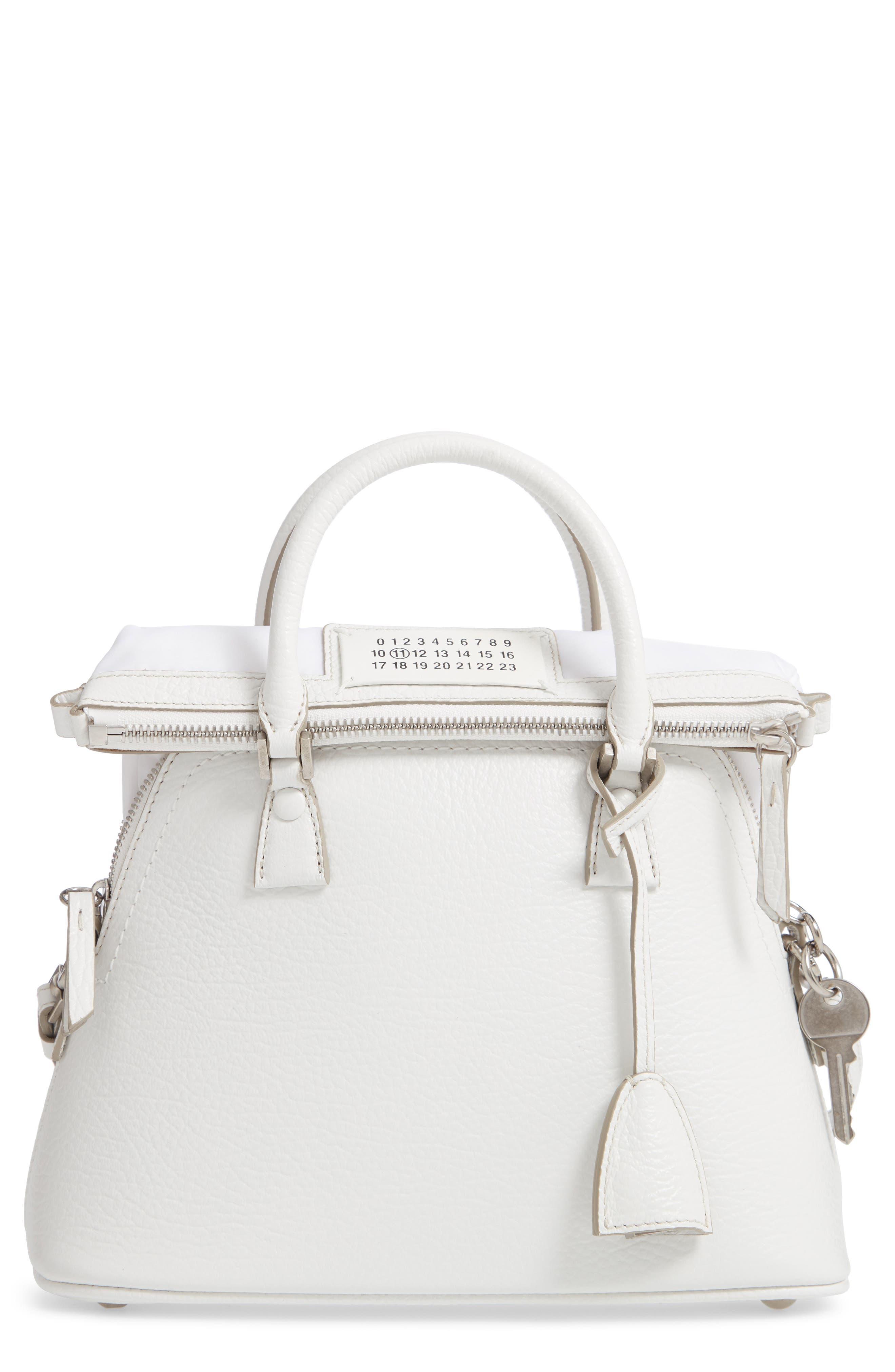Small 5AC Calfskin Leather Handbag,                             Main thumbnail 1, color,                             WHITE