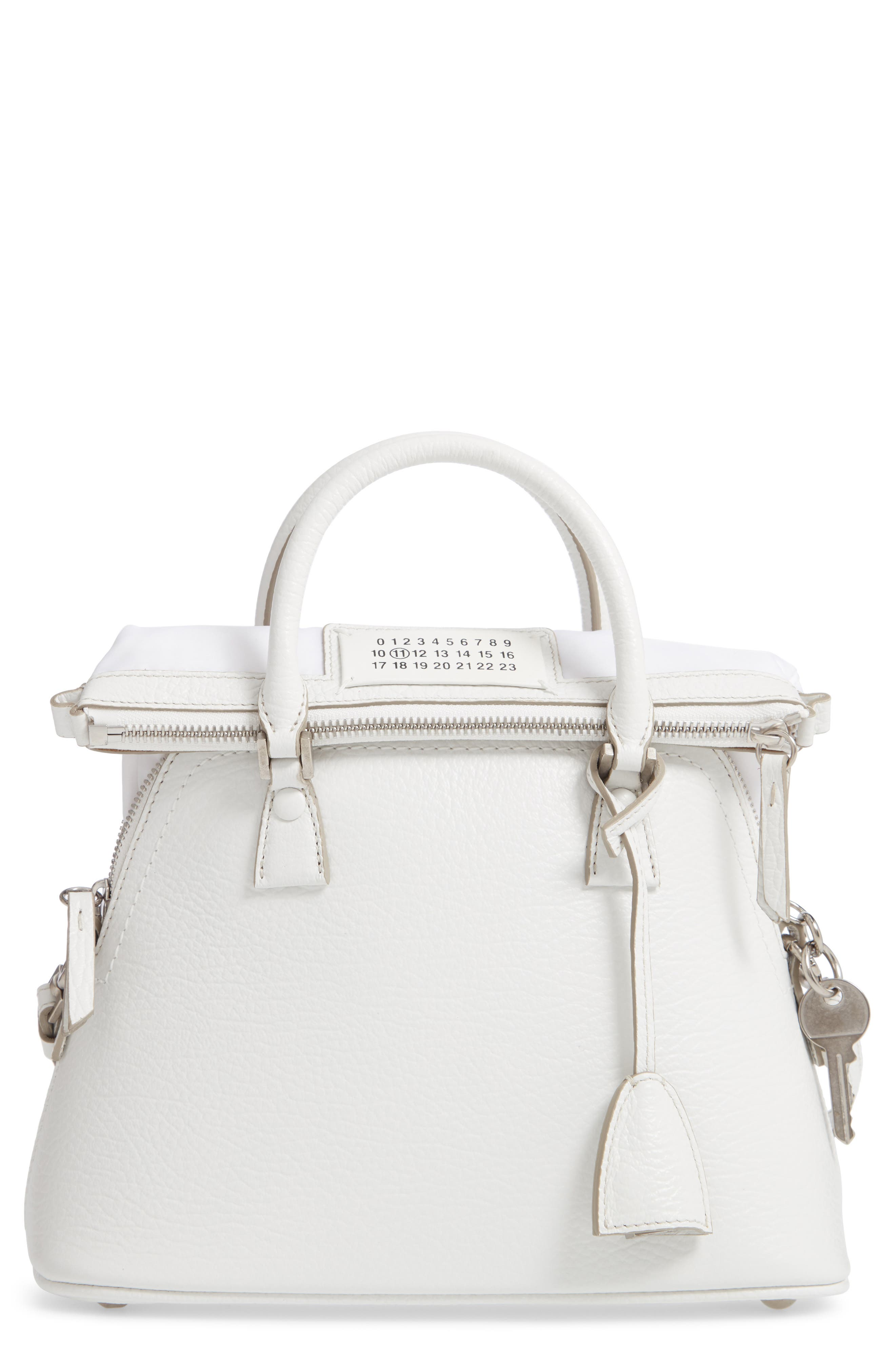 Small 5AC Calfskin Leather Handbag,                         Main,                         color, WHITE
