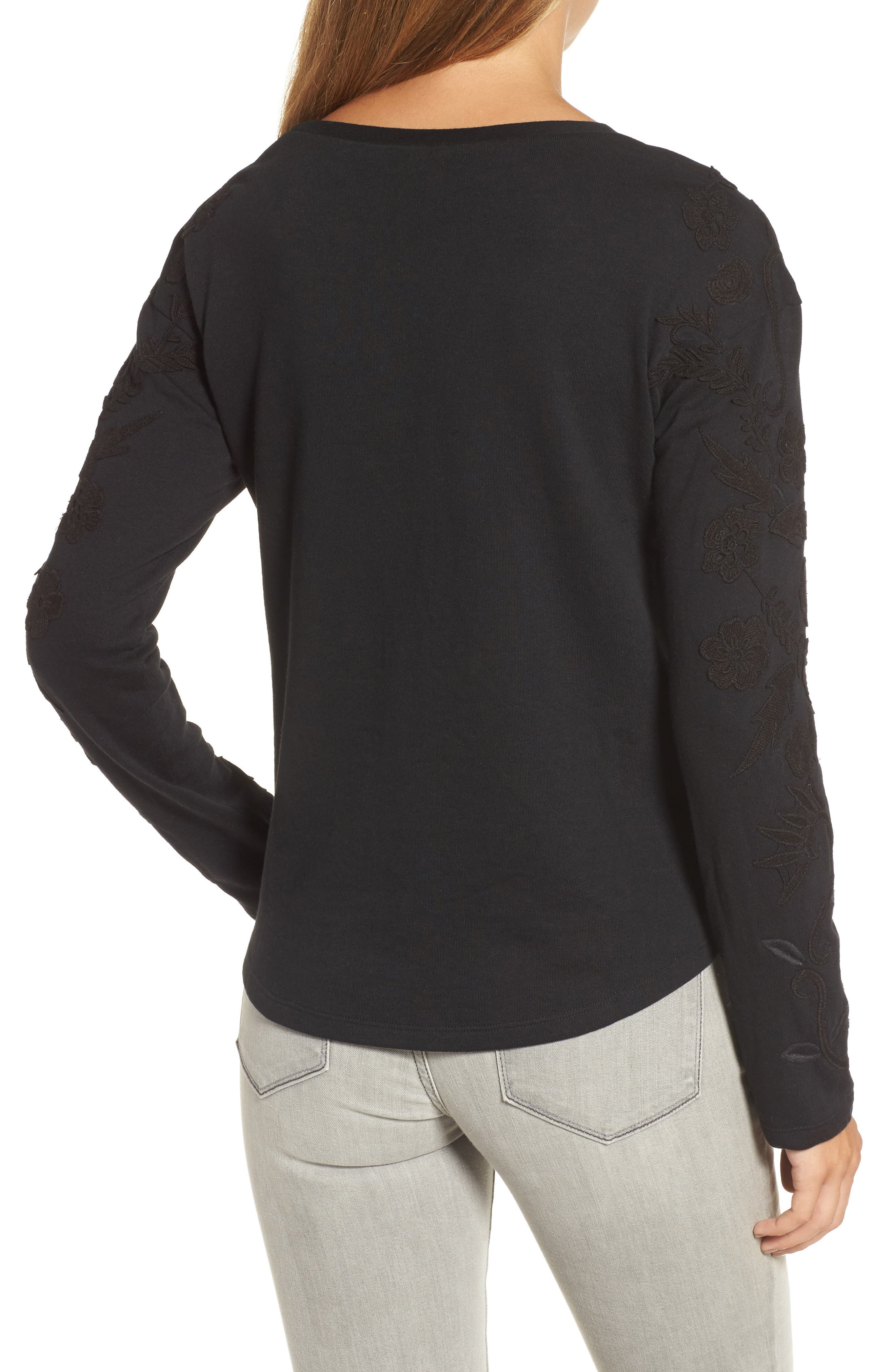 Embroidered Sleeve Sweatshirt,                             Alternate thumbnail 2, color,                             001