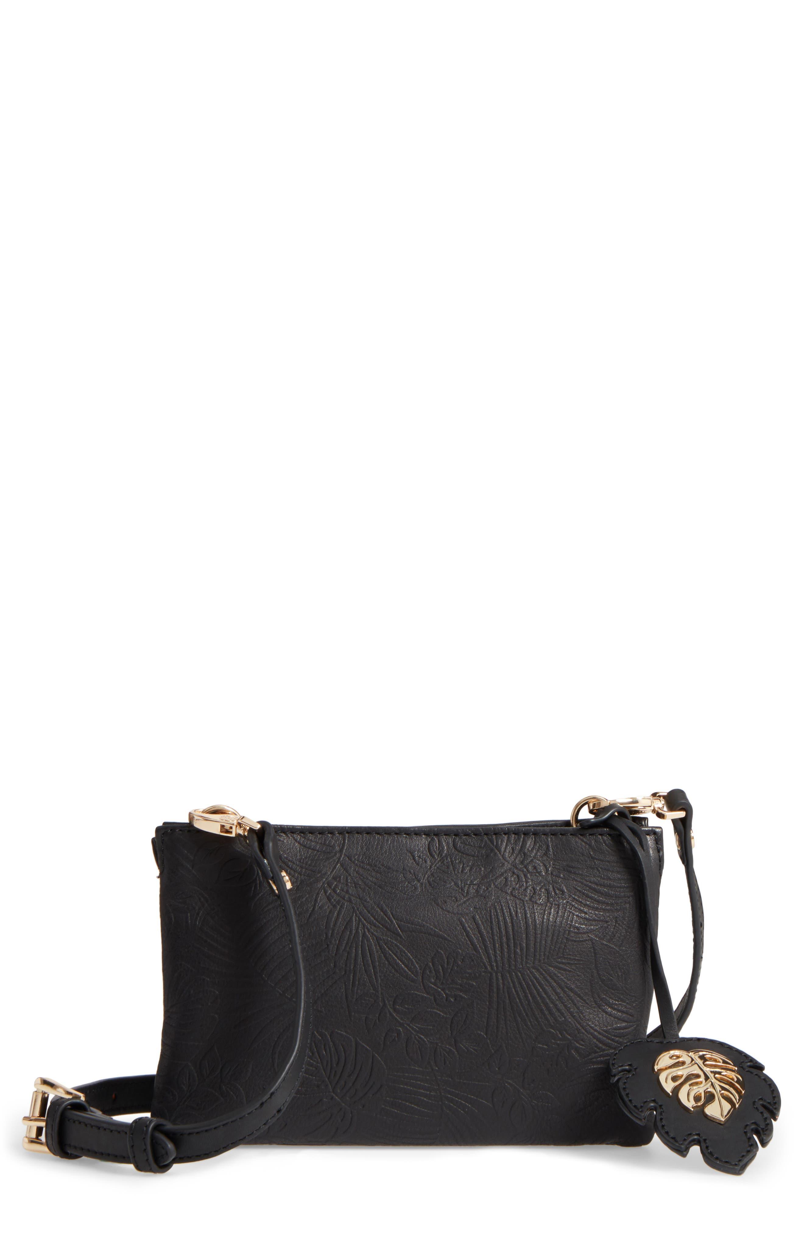 Marrakech Leather Crossbody Wallet,                             Main thumbnail 1, color,                             001
