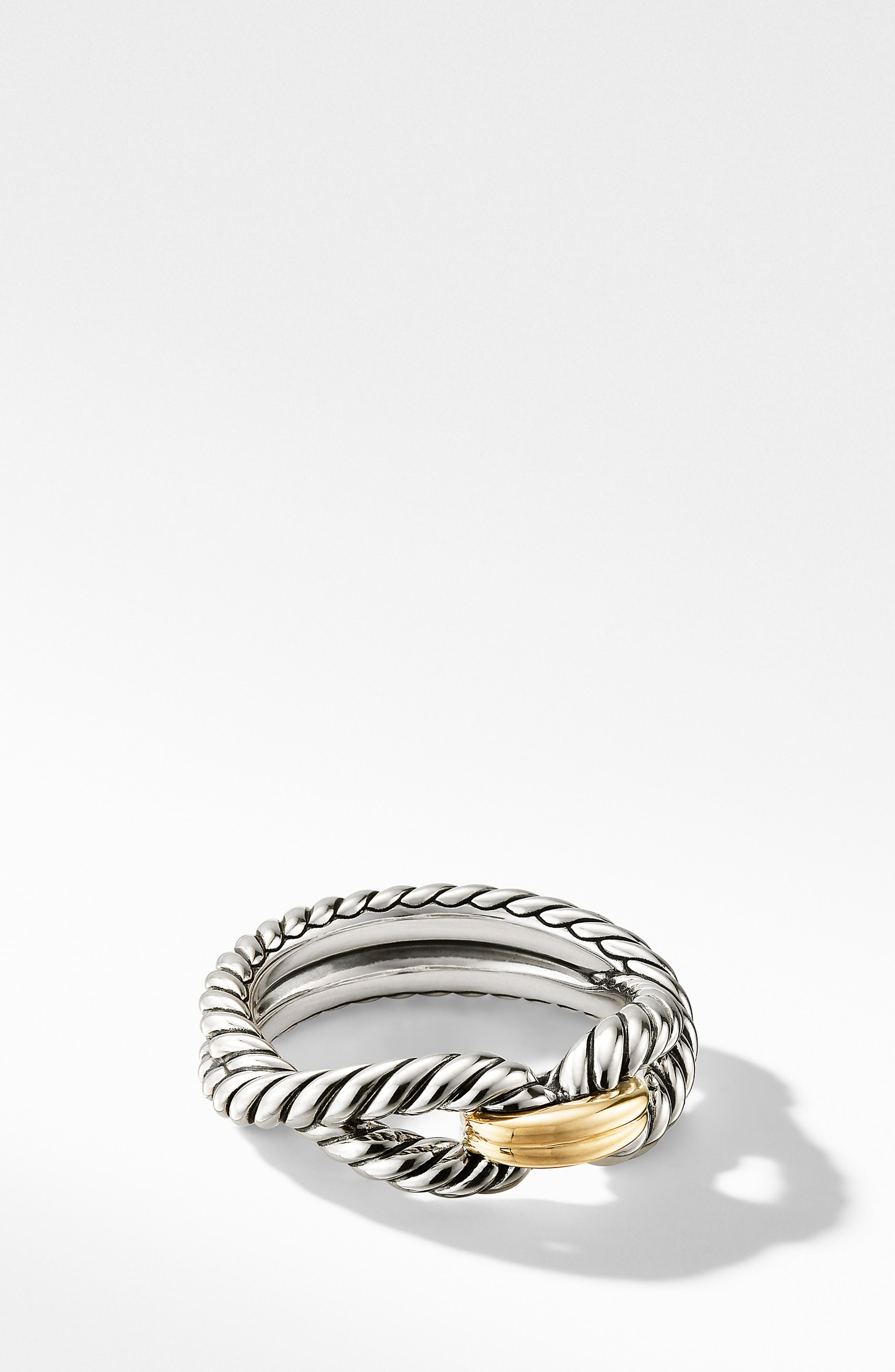 Cable Loop Ring with 18K Gold,                             Main thumbnail 1, color,                             YELLOW GOLD/ STERLING SILVER
