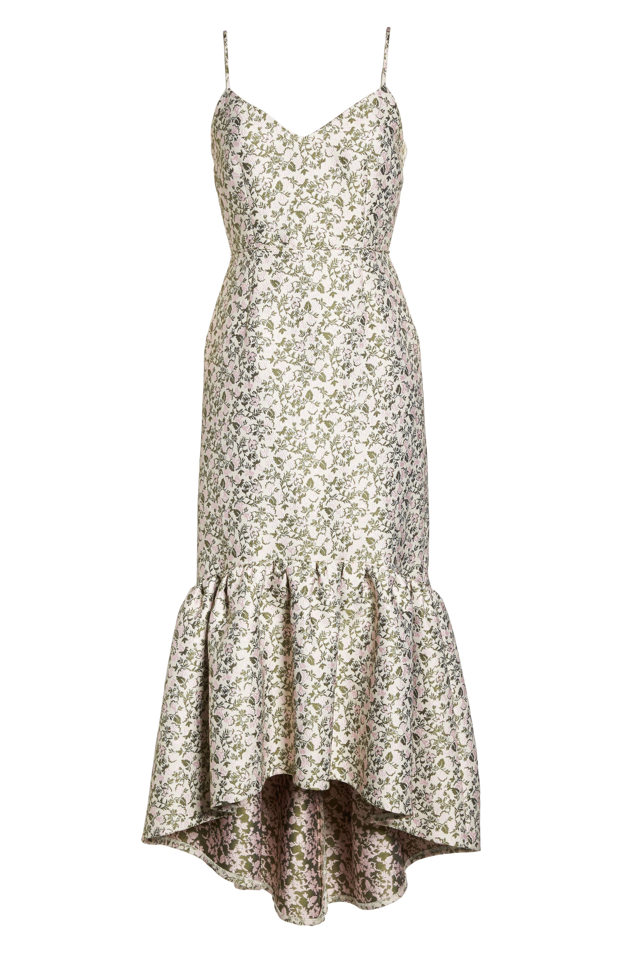 Jacquard High/Low Midi Dress,                             Alternate thumbnail 6, color,