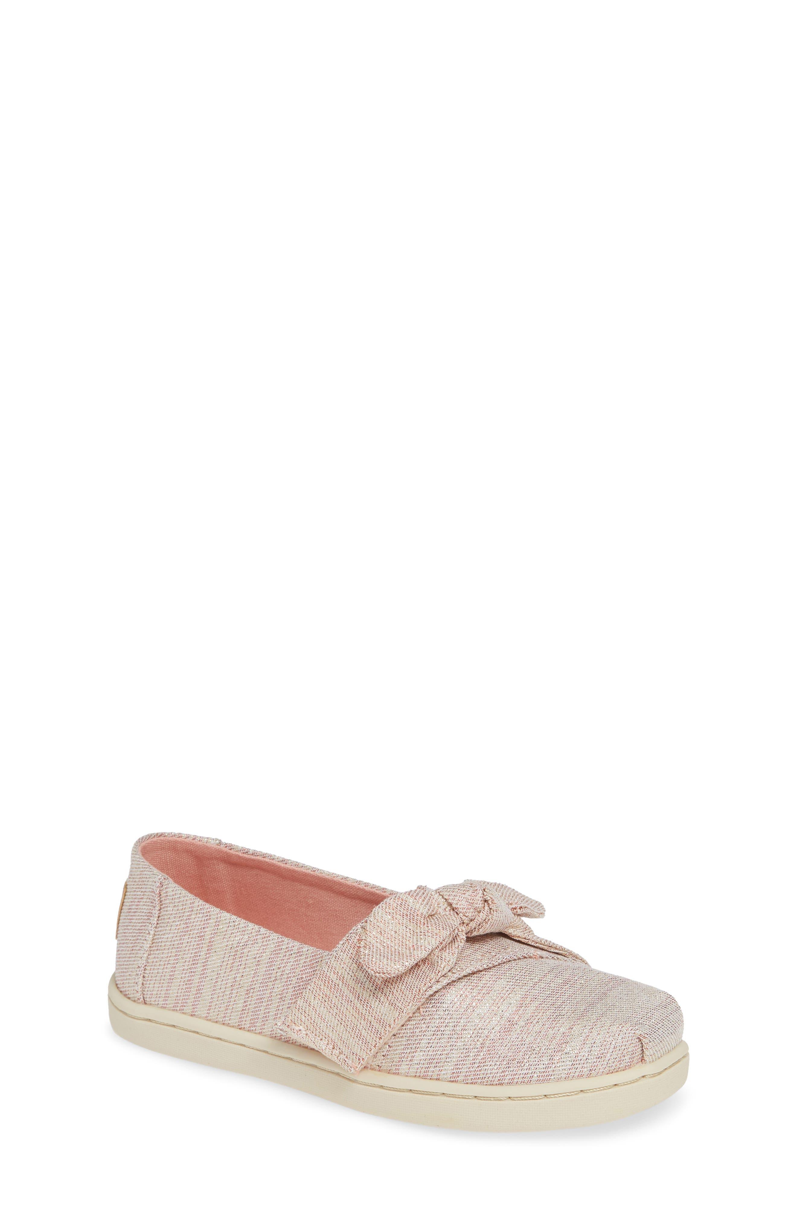 Toddler Girls Toms Tiny Bow Alpargata SlipOn Size 9 M  Pink