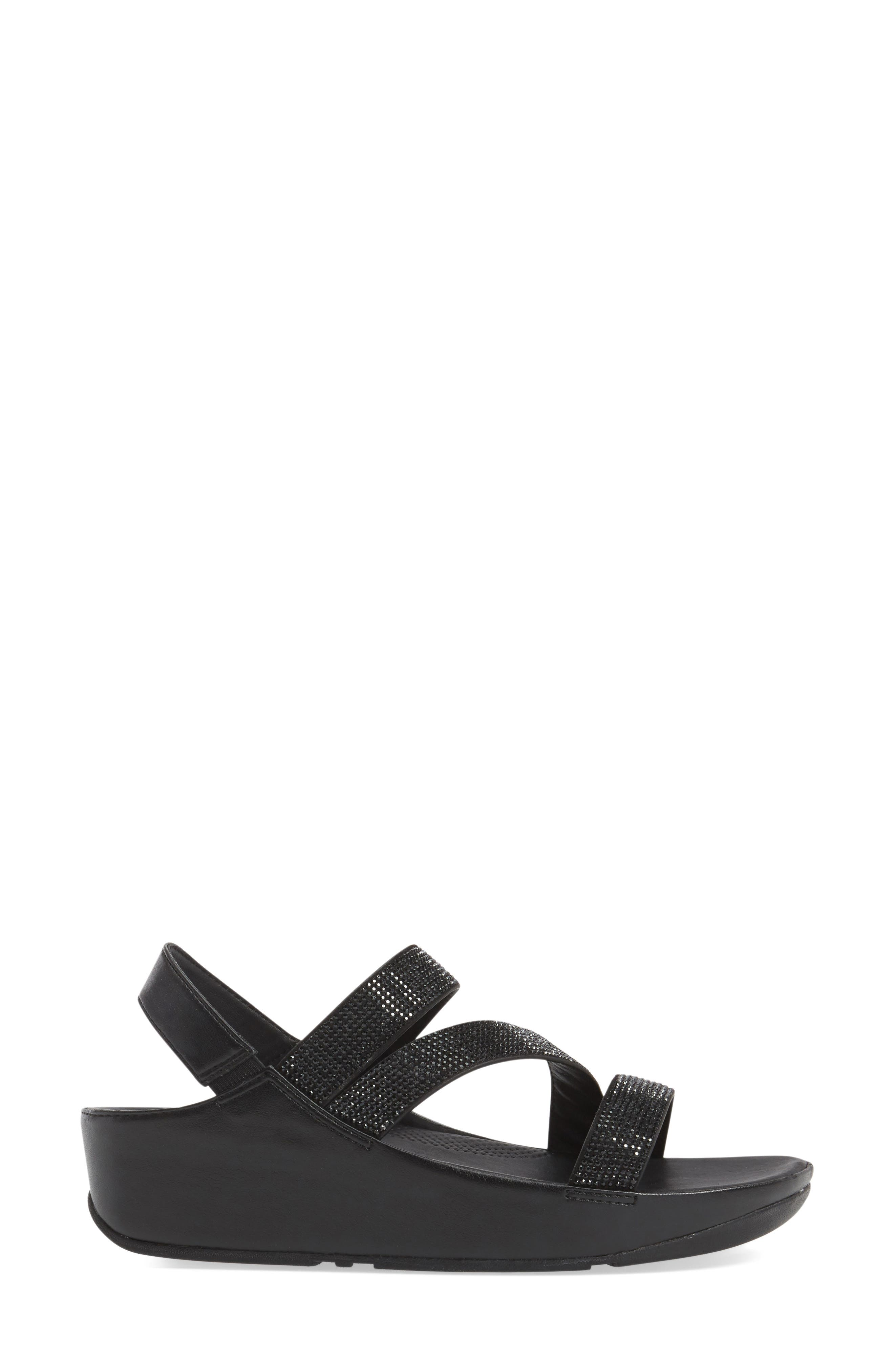 FITFLOP,                              Crystall Wedge Sandal,                             Alternate thumbnail 3, color,                             001