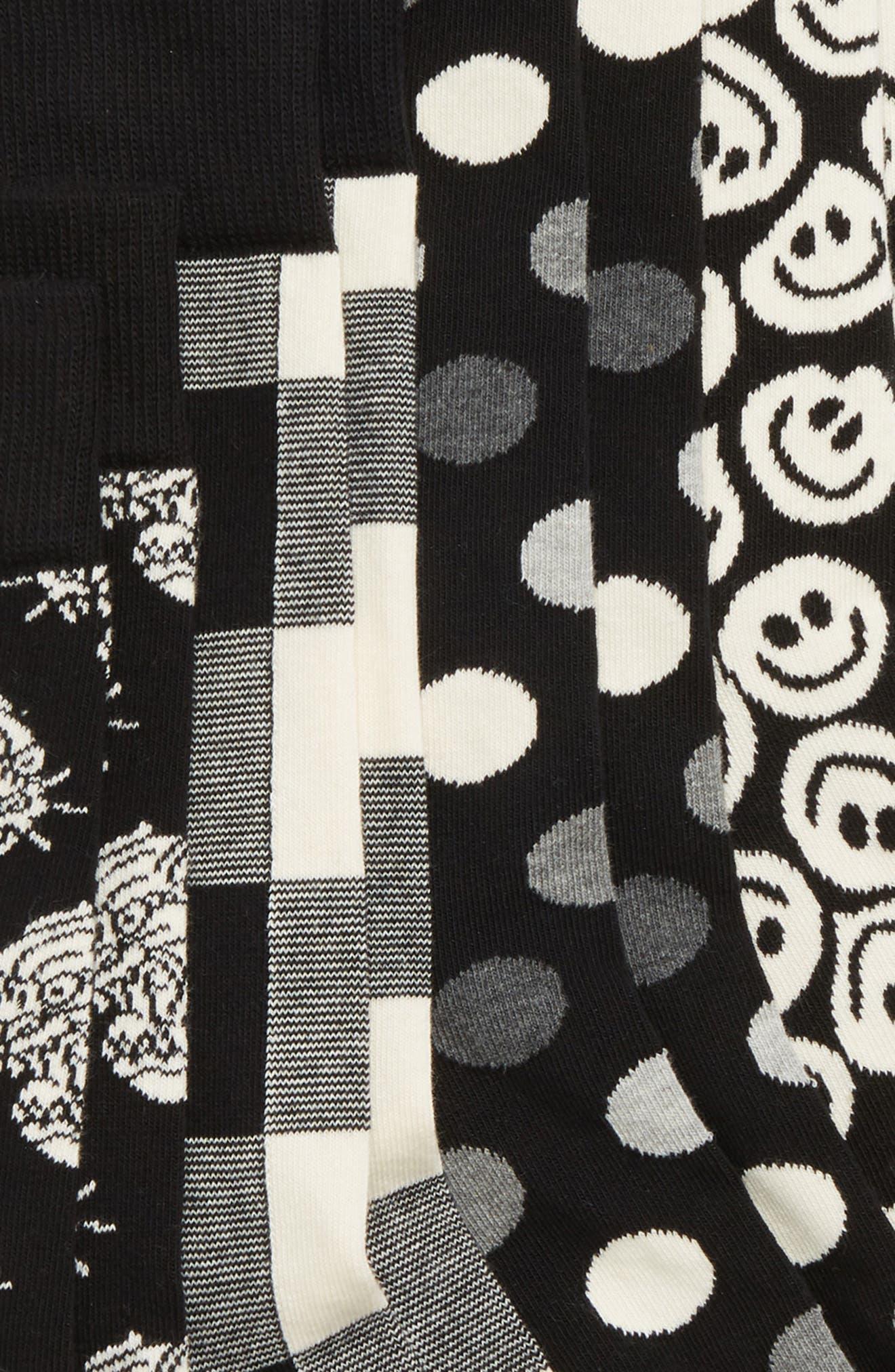 HAPPY SOCKS Black & White 4-Pack Box Set Socks in Black/ White