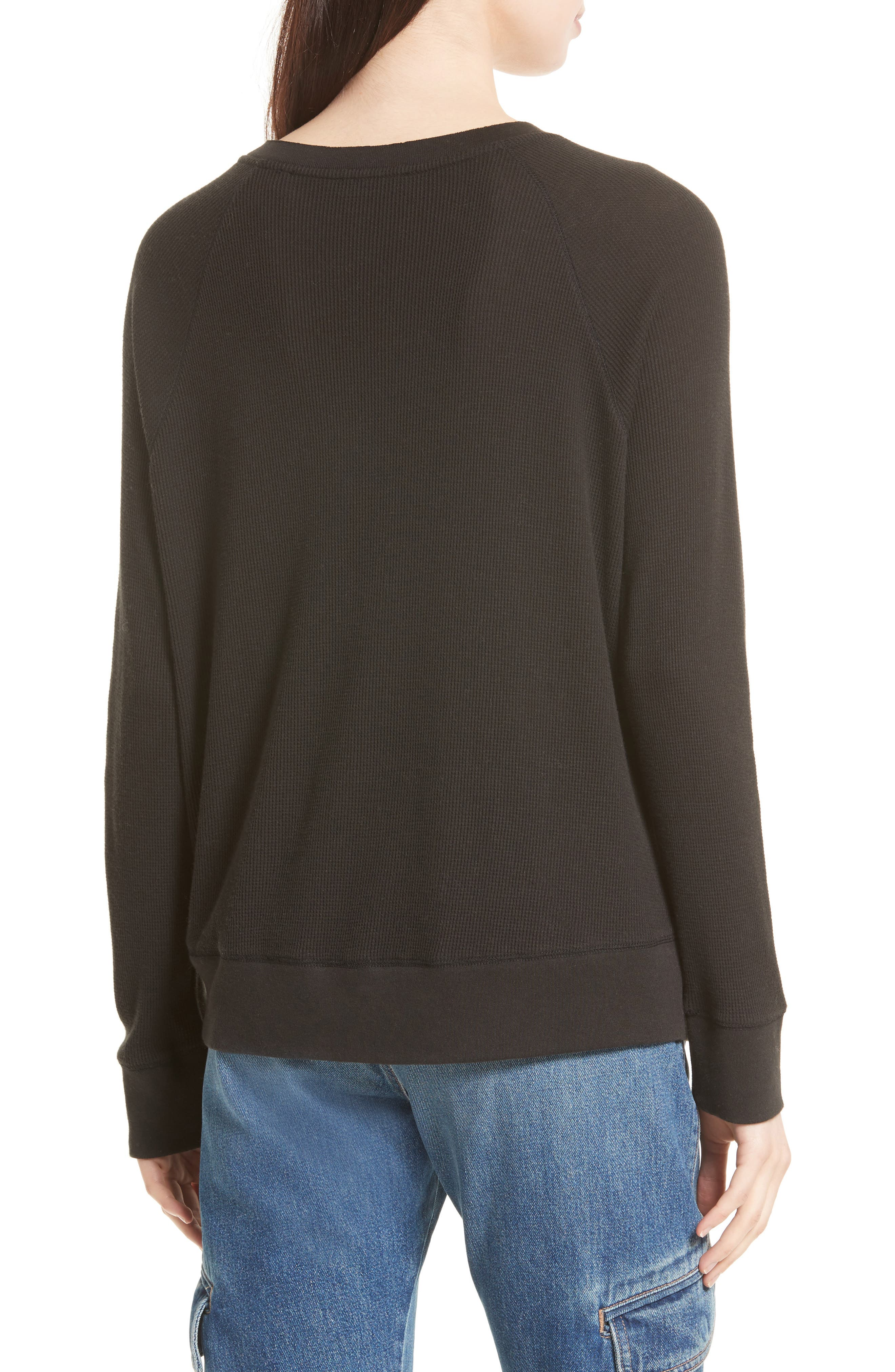 Thermal Pima Cotton Pullover,                             Alternate thumbnail 2, color,                             001