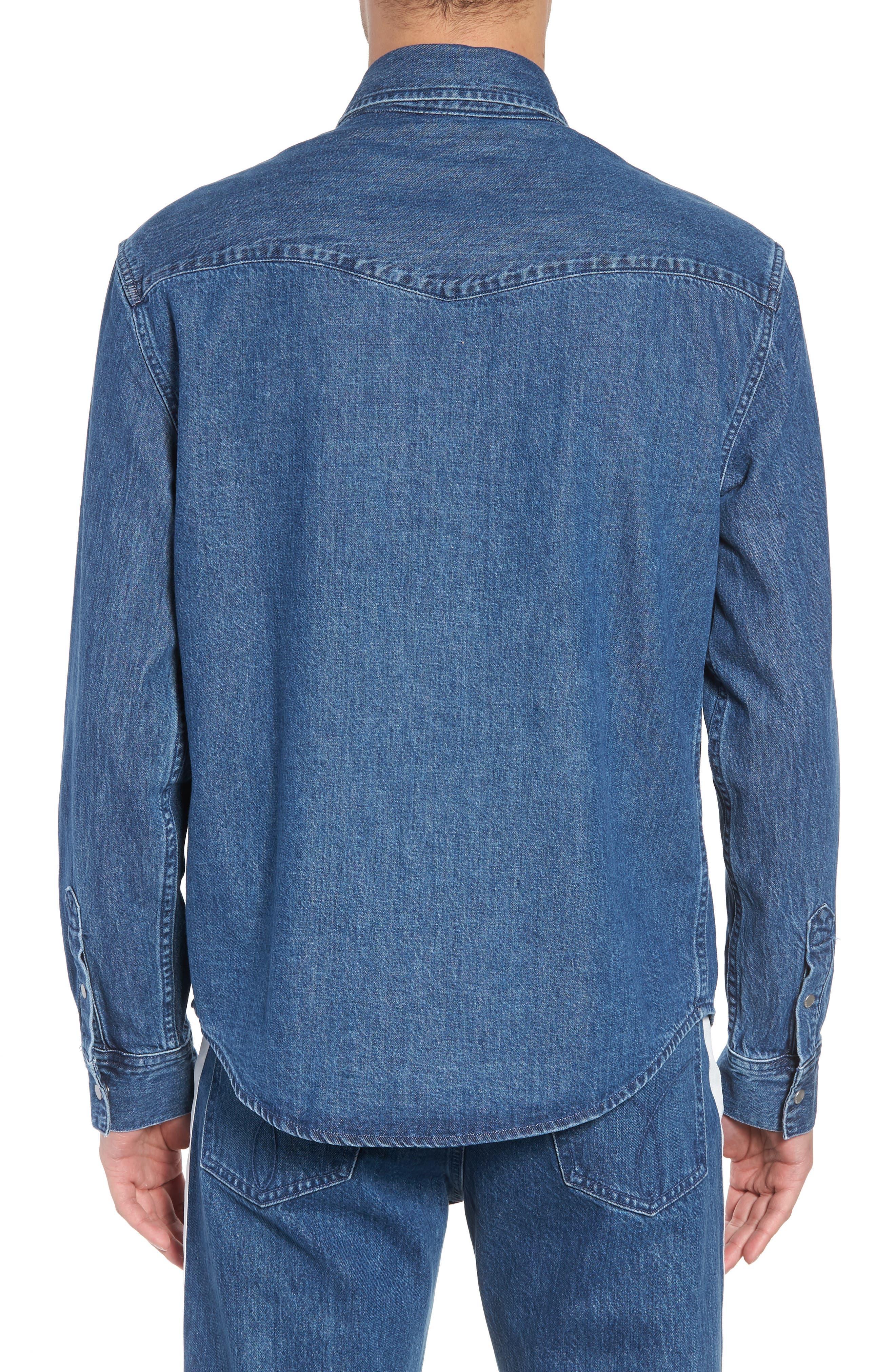 Calvin Klein Archive Colorblock Denim Western Shirt,                             Alternate thumbnail 2, color,                             400
