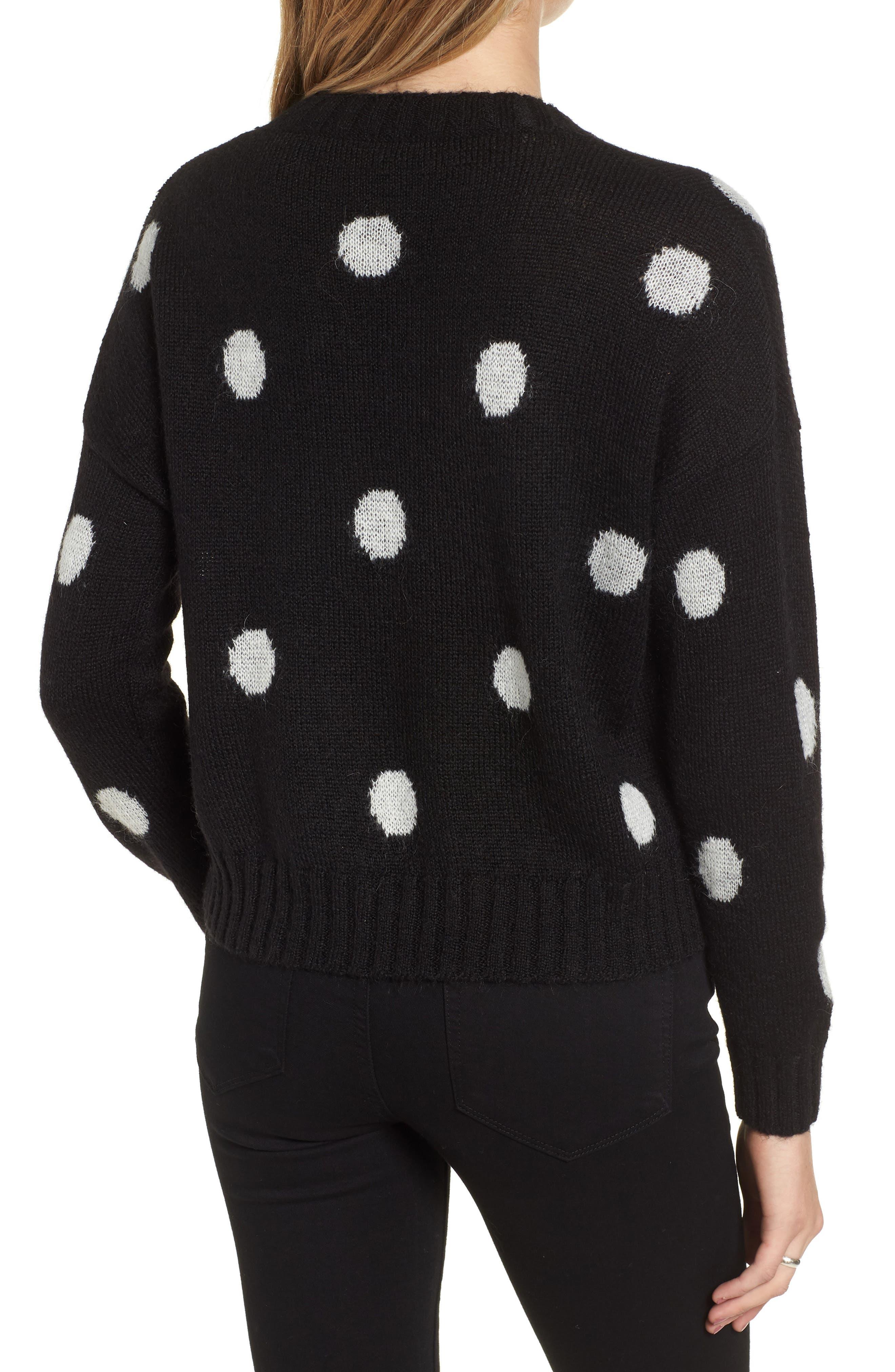 Perci Sweater,                             Alternate thumbnail 2, color,                             BLACK/ IVORY POLKA DOT