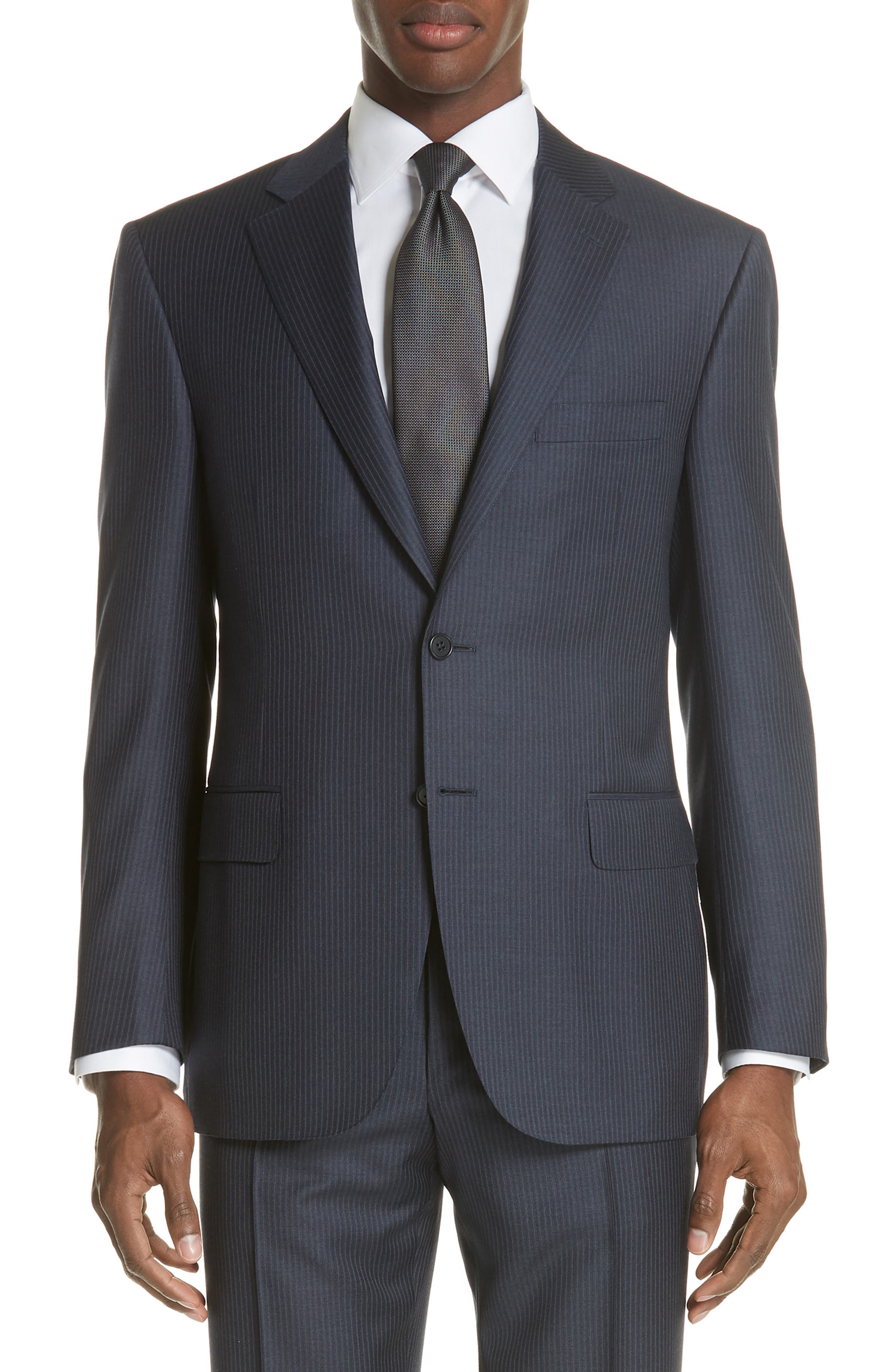 CANALI,                             Classic Fit Pinstripe Wool Suit,                             Alternate thumbnail 5, color,                             410