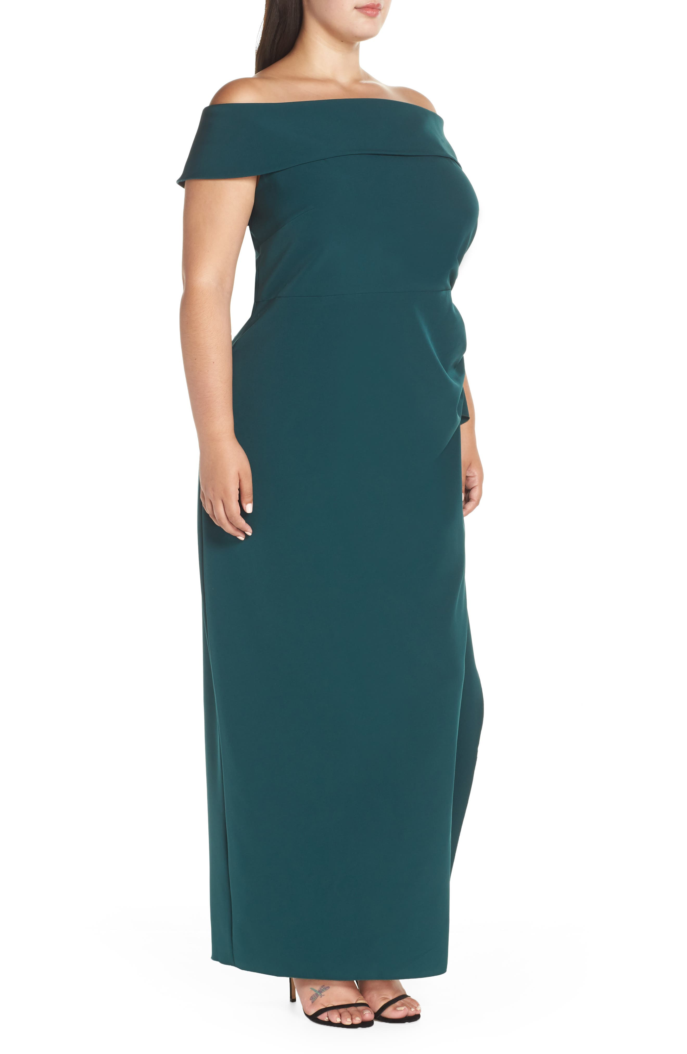 Side Ruched Off the Shoulder Gown,                             Alternate thumbnail 3, color,                             HUNTER