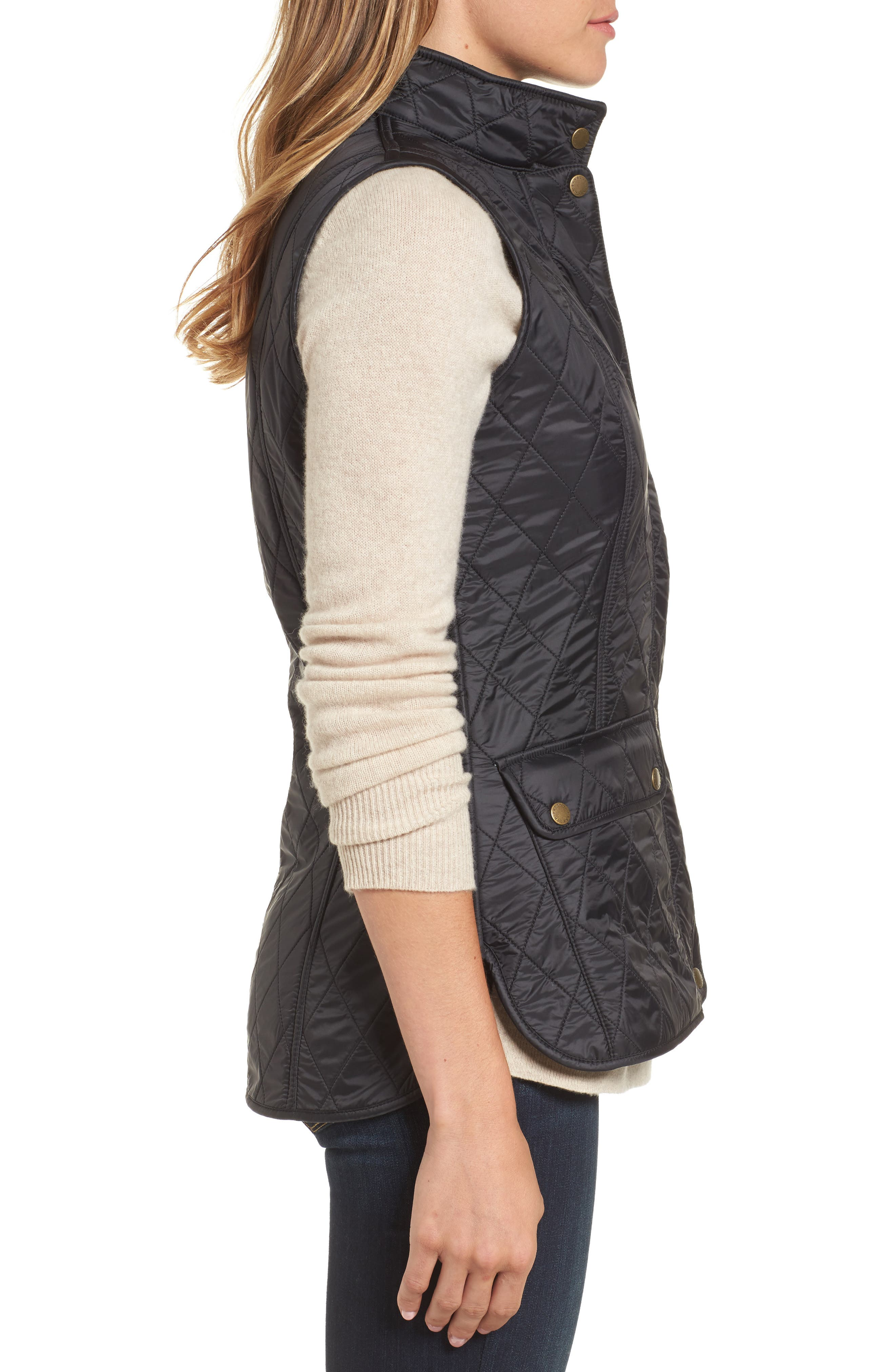 Wray Water Resistant Quilted Gilet,                             Alternate thumbnail 3, color,                             001
