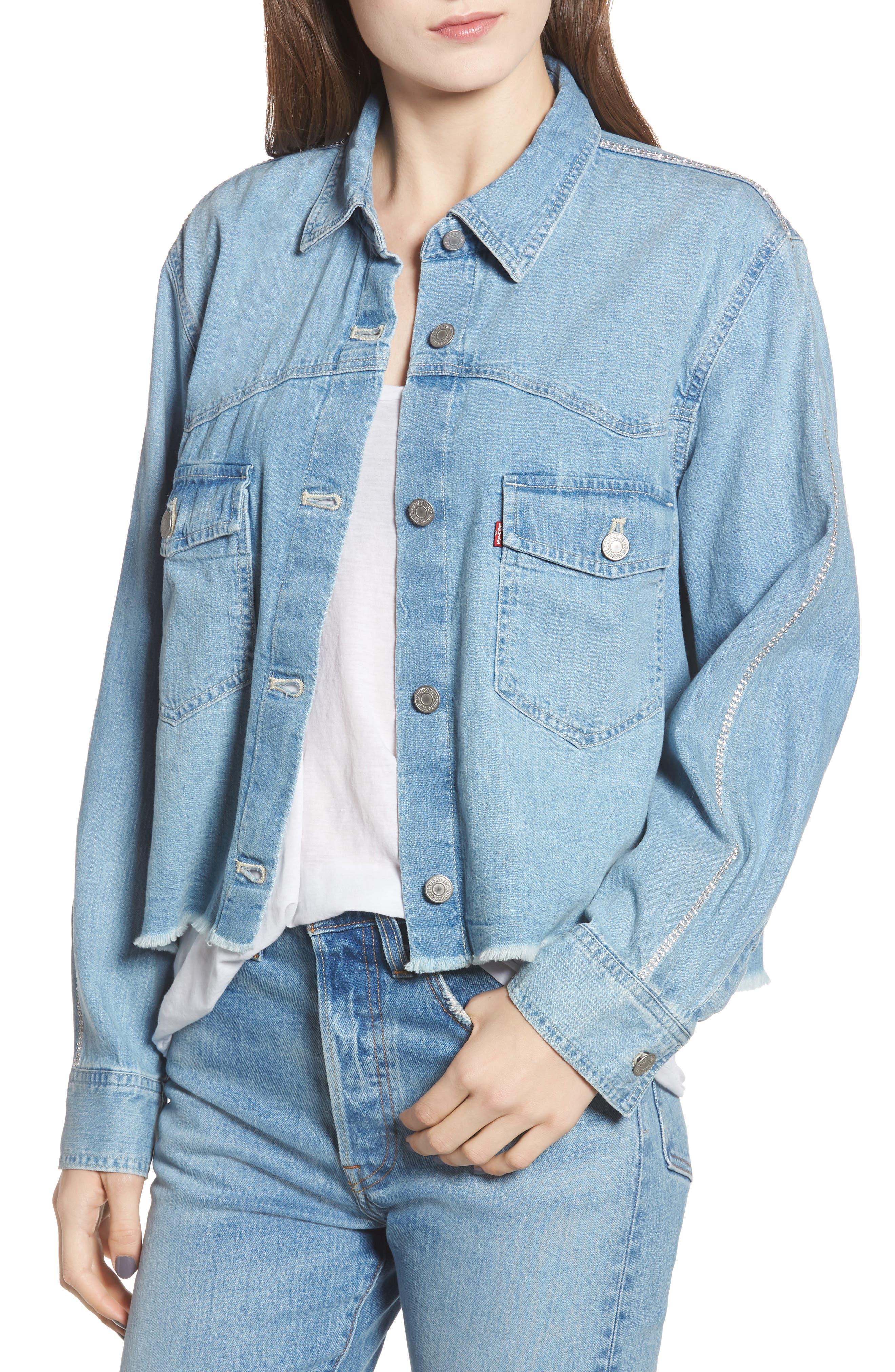 LEVI'S<SUP>®</SUP>,                             Addison Crop Denim Shirt,                             Alternate thumbnail 4, color,                             400