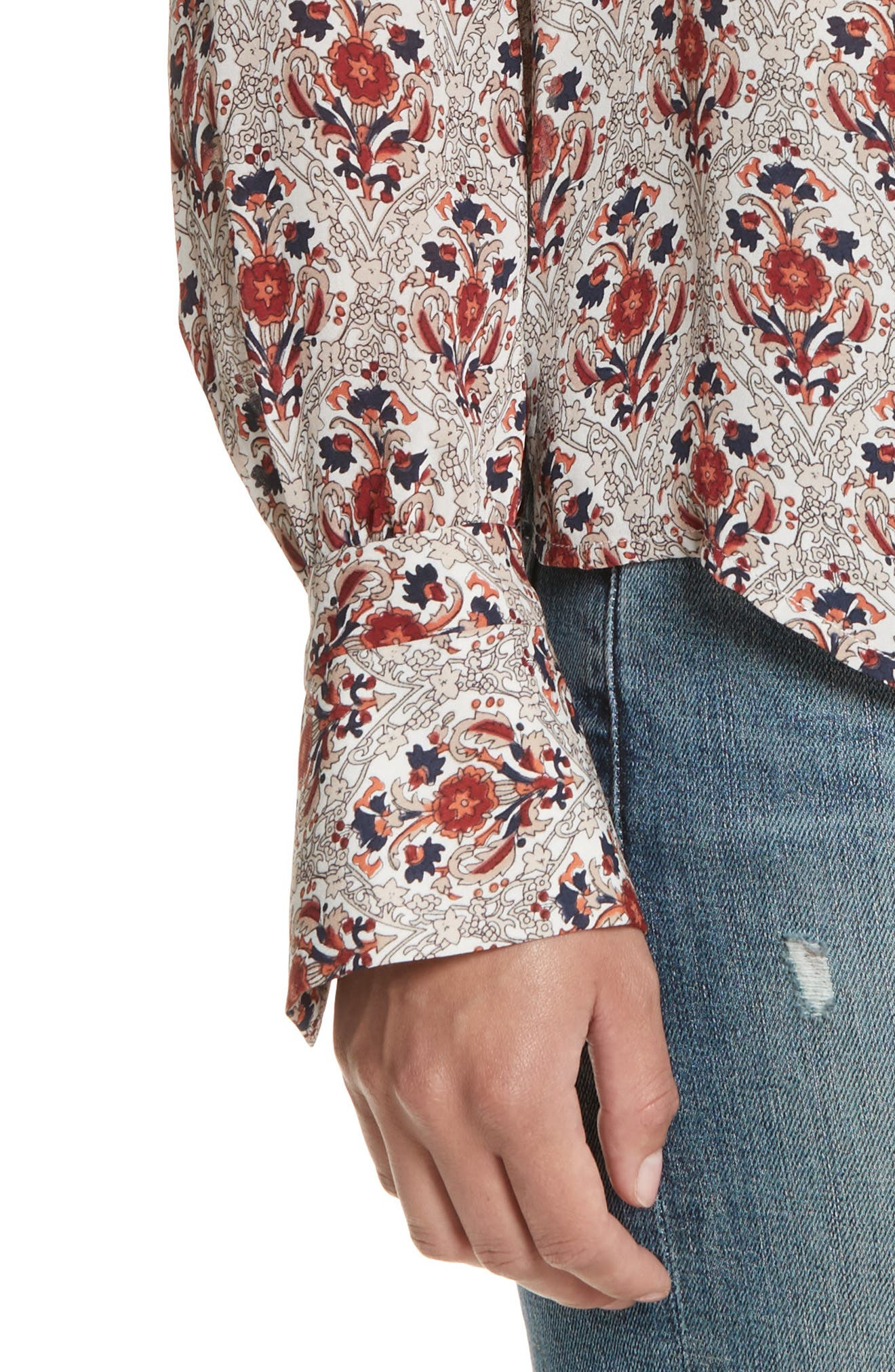 Jamiona Floral Silk Top,                             Alternate thumbnail 4, color,                             114