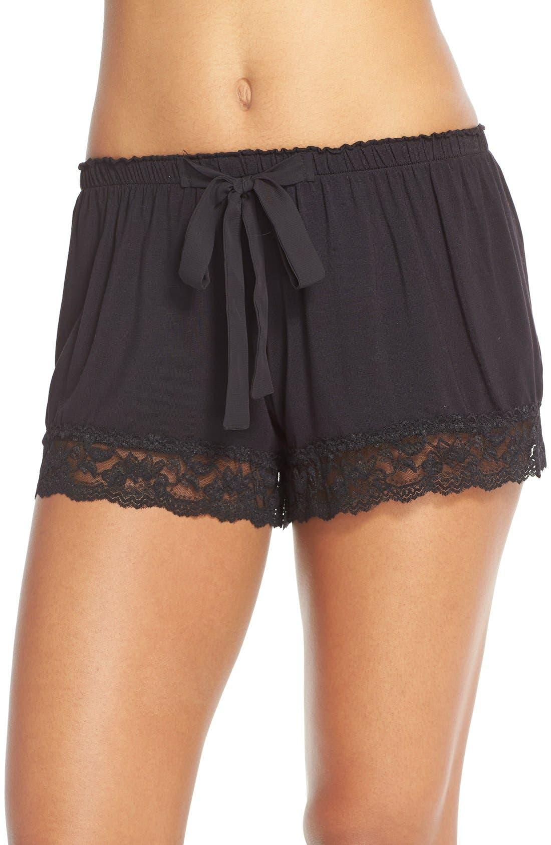 Flora Nikrooz Snuggle Lounge Shorts,                             Main thumbnail 1, color,                             BLACK